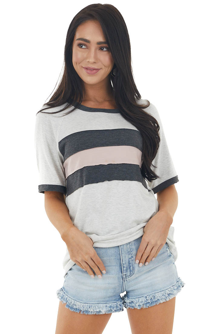 Heathered Pewter and Colorblock Short Raglan Sleeve Knit Top