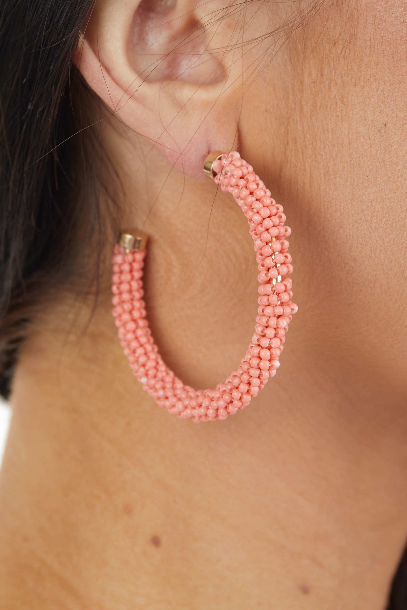 Coral and Gold Seed Beaded Crescent Hoop Earrings