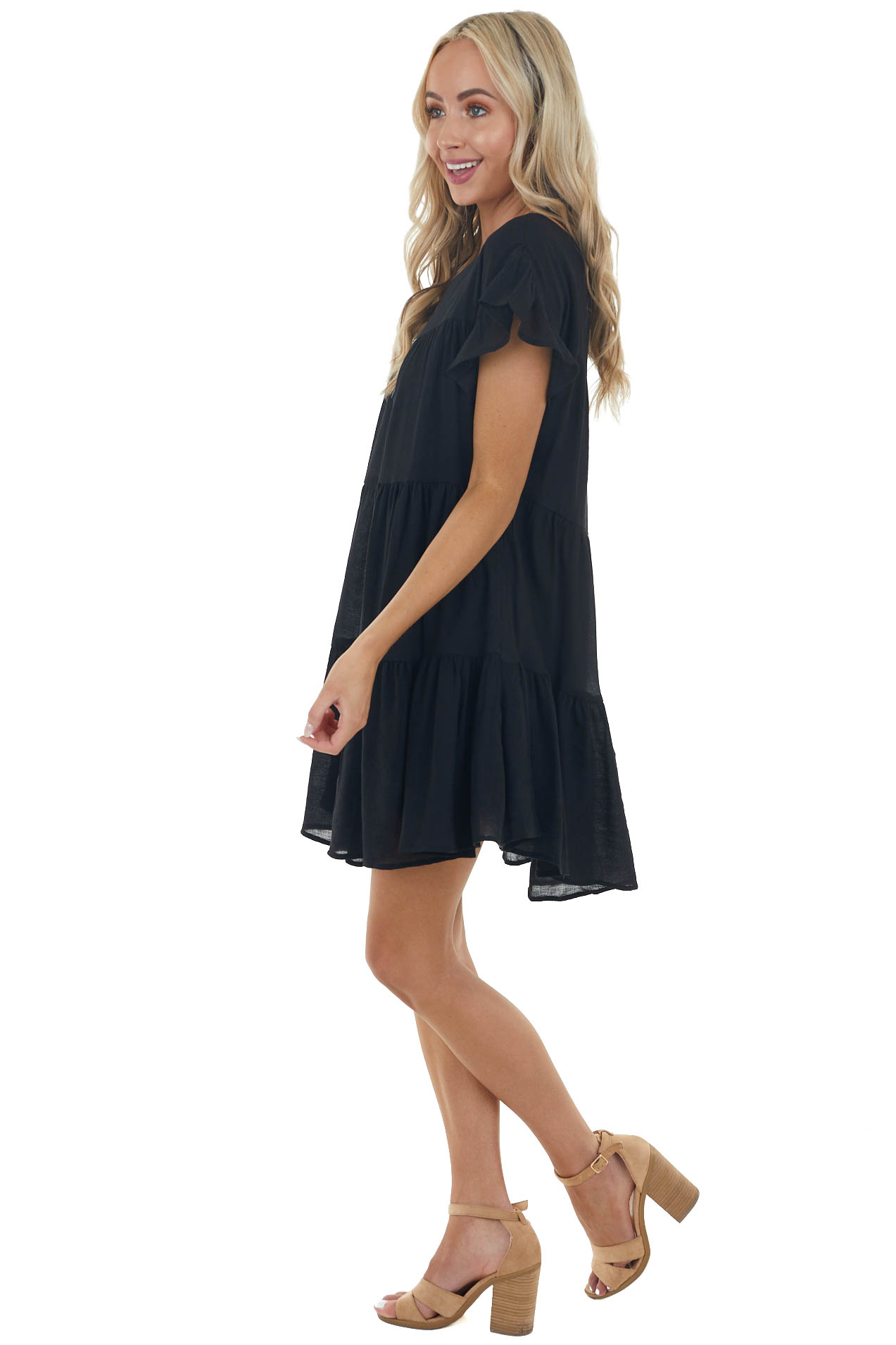 Black Tiered Babydoll Short Dress with Side Pockets