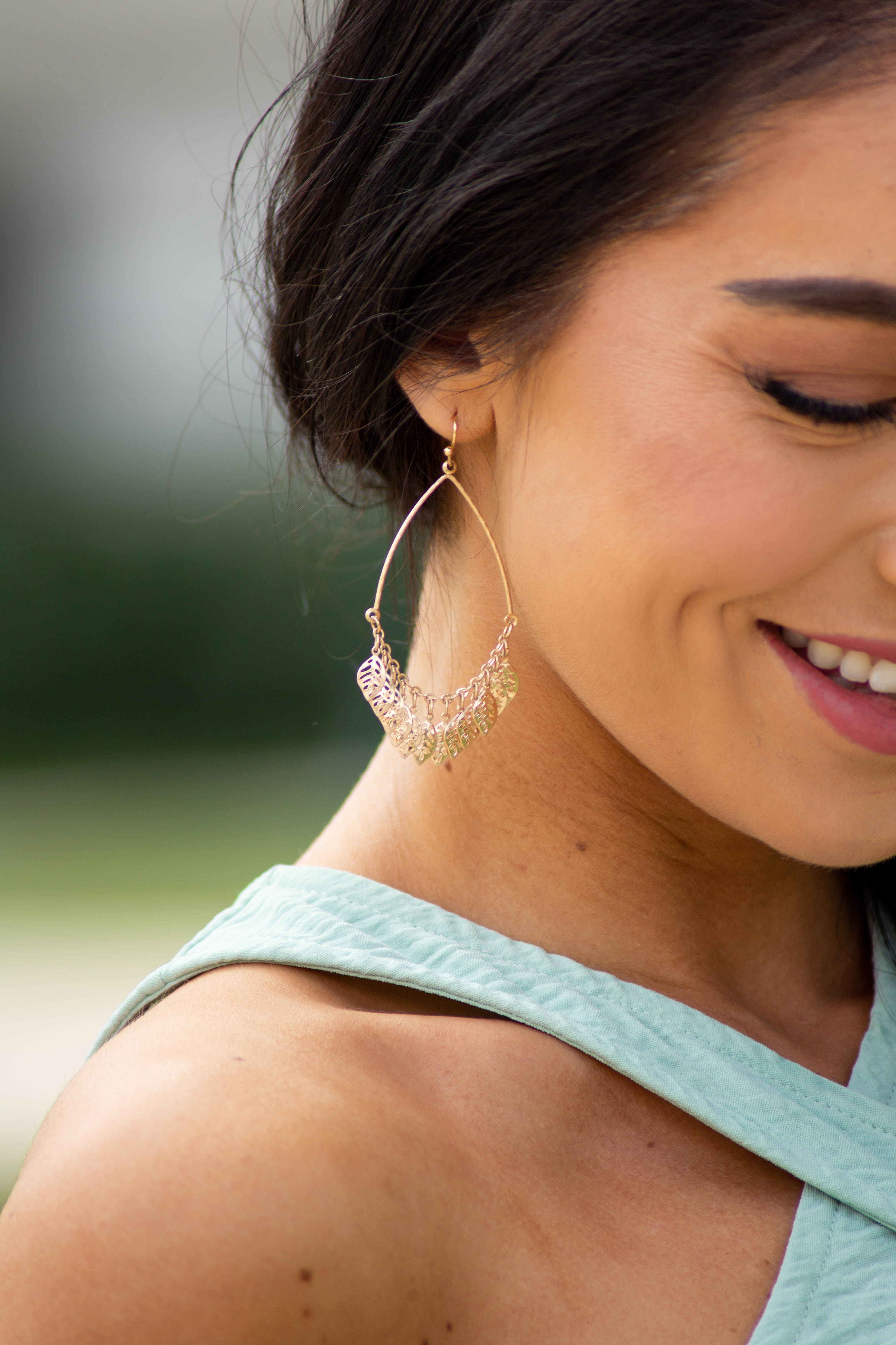 Gold Dangle Hook Earrings with Tiny Leaf Charms