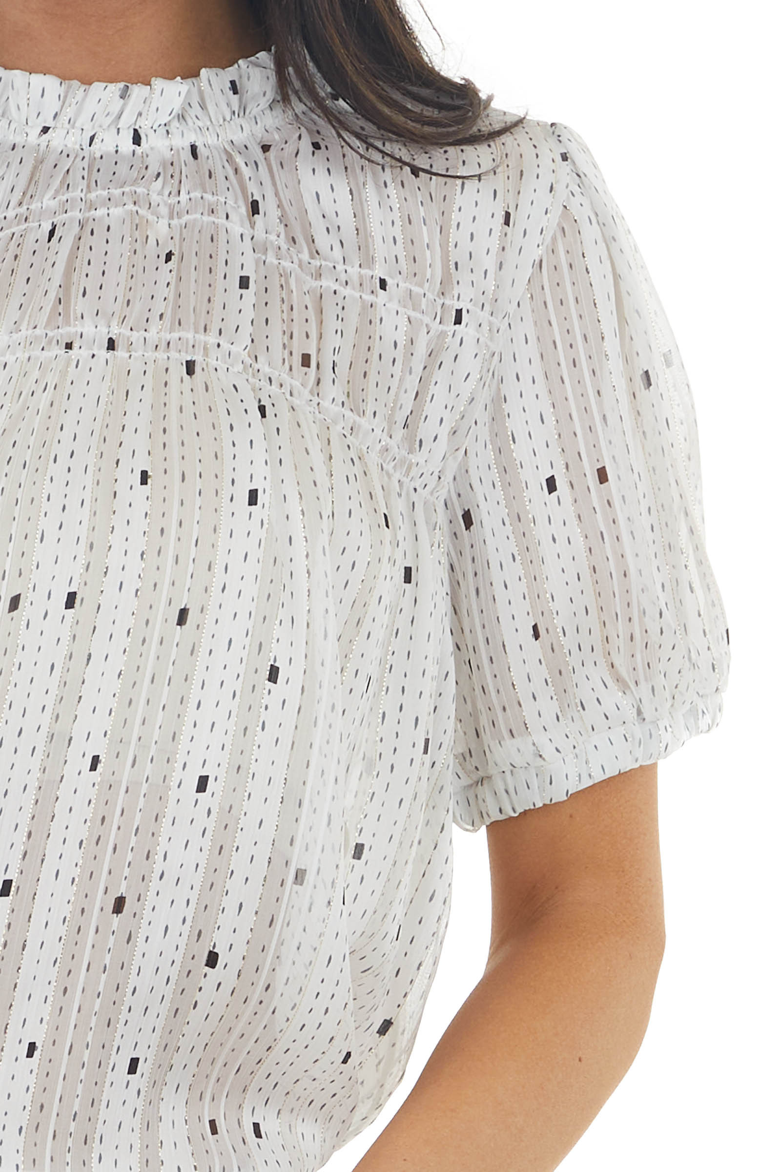 Ivory Printed Short Sleeve Sheer Blouse with Gold Detail