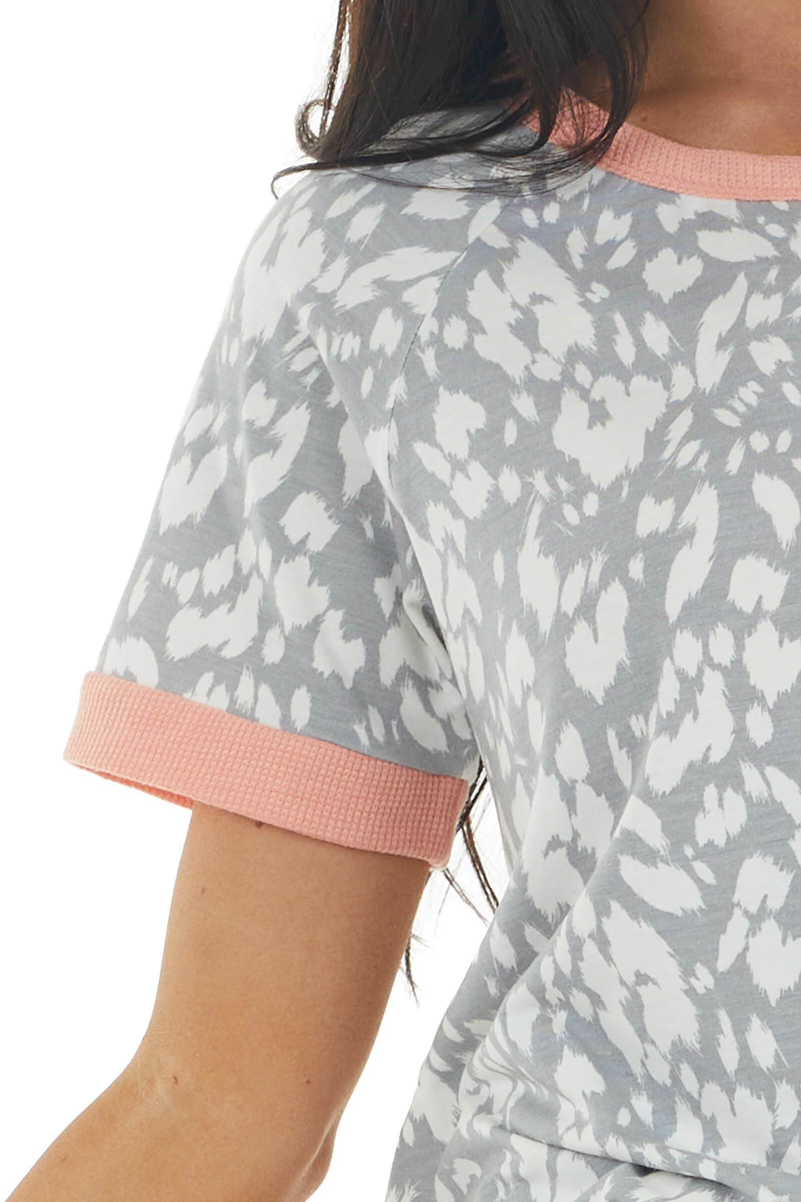 Stone Grey Leopard Print Top with Coral Ringer Neckline