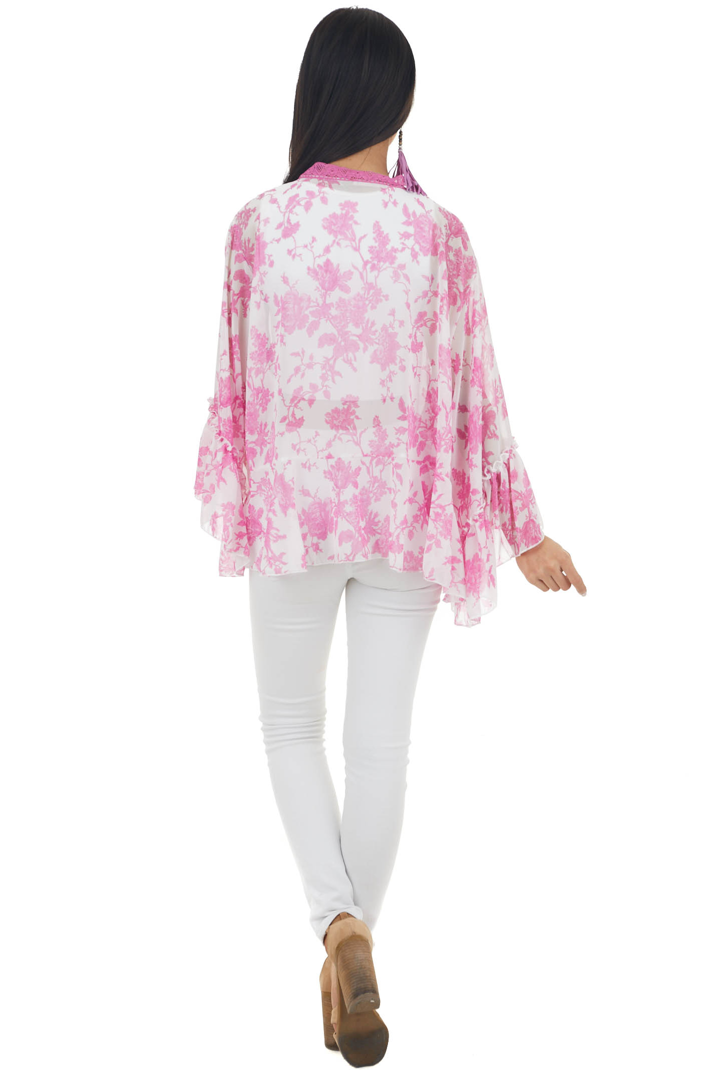 Fuchsia and Ivory Floral Open Front Kimono with Lace Detail