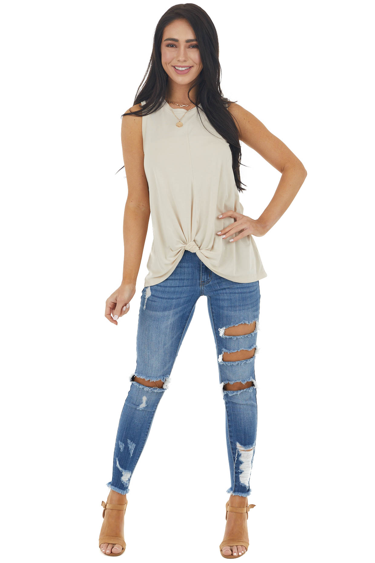 Sand Sleeveless Stretchy Knit Top with Front Knot Detail
