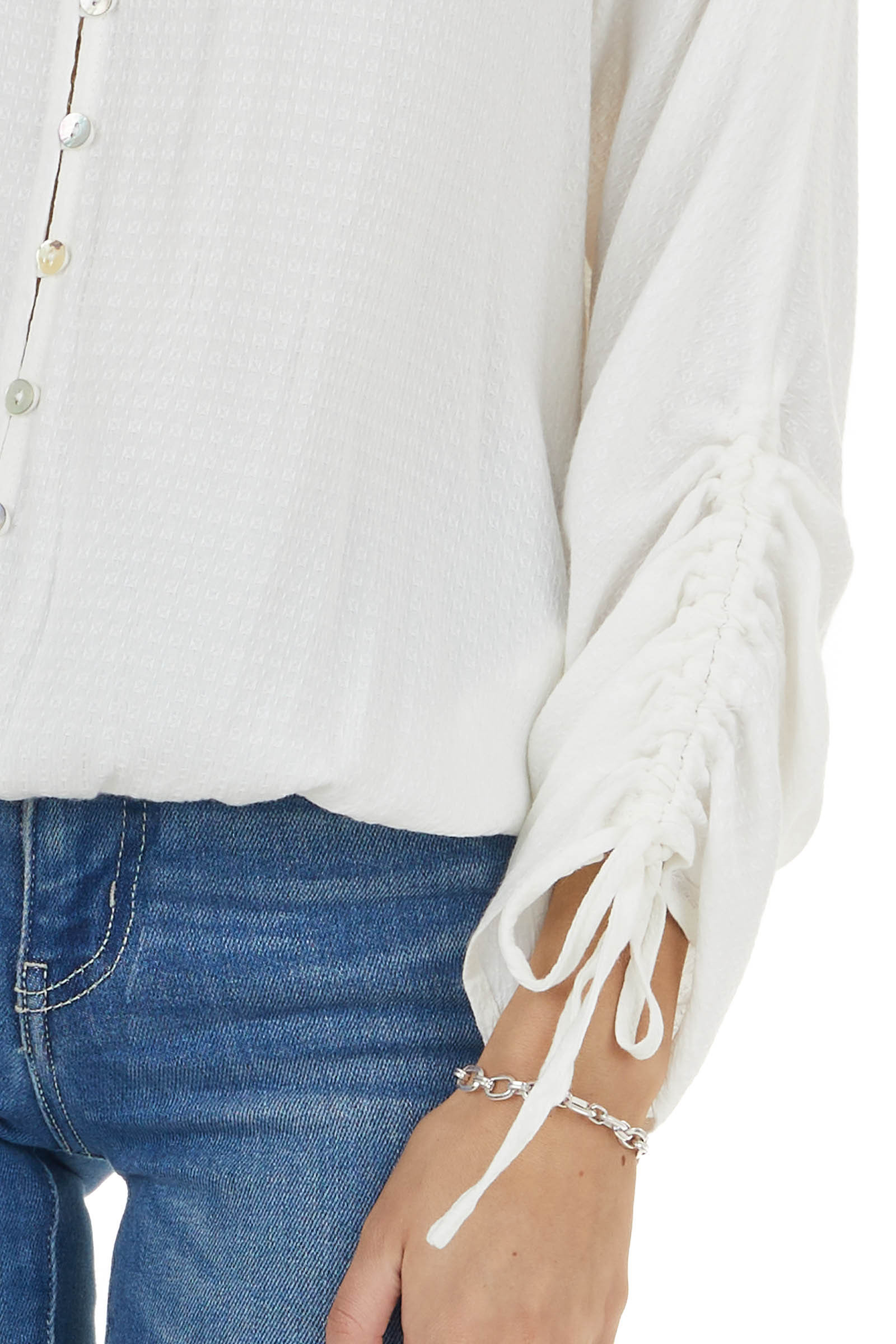 Eggshell Button Up Long Sleeve Top with Elastic Waist
