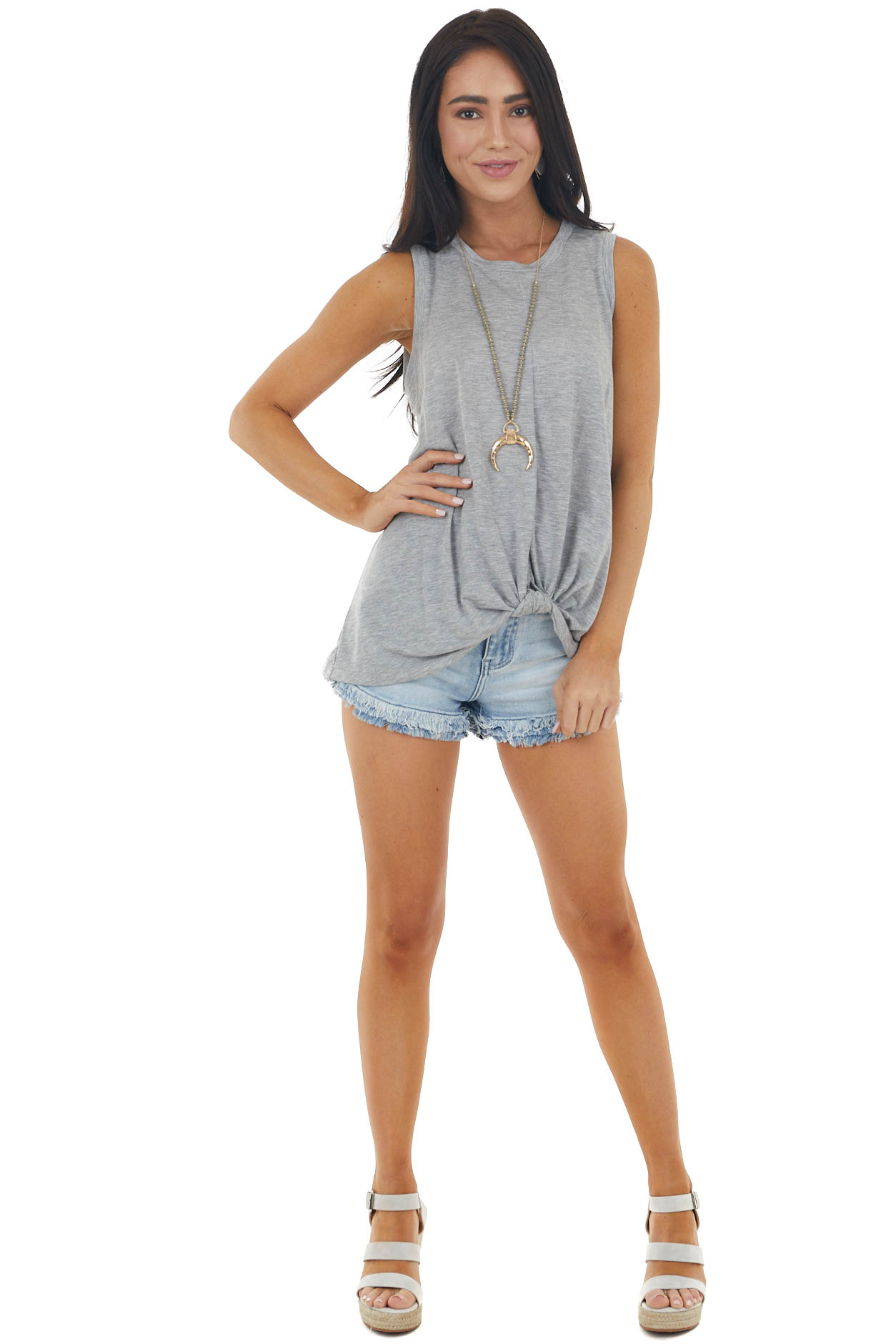 Heather Grey Sleeveless Knit Top with Front Knot Detail