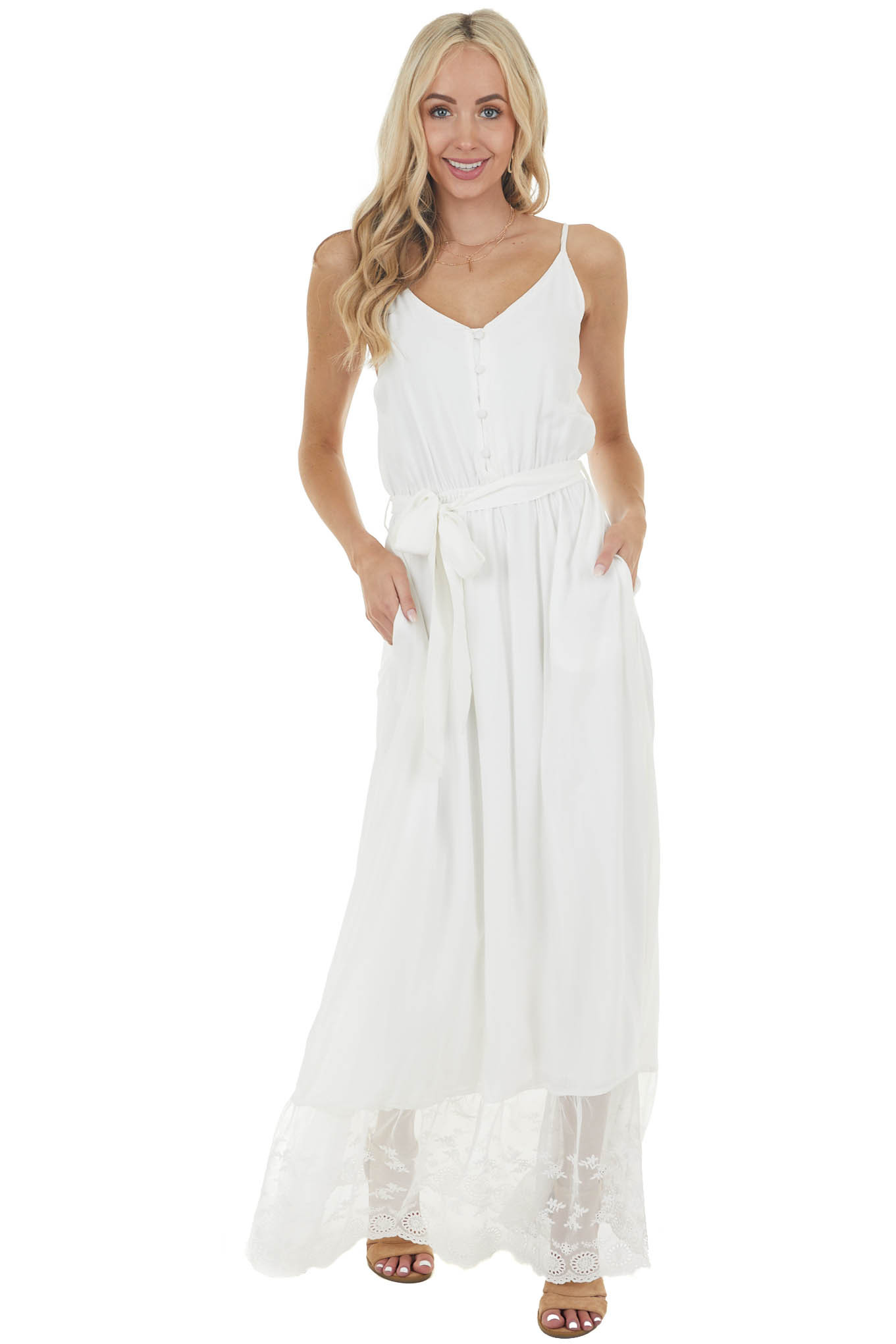 Off White Sleeveless Maxi Dress with Contrast Lace Hem