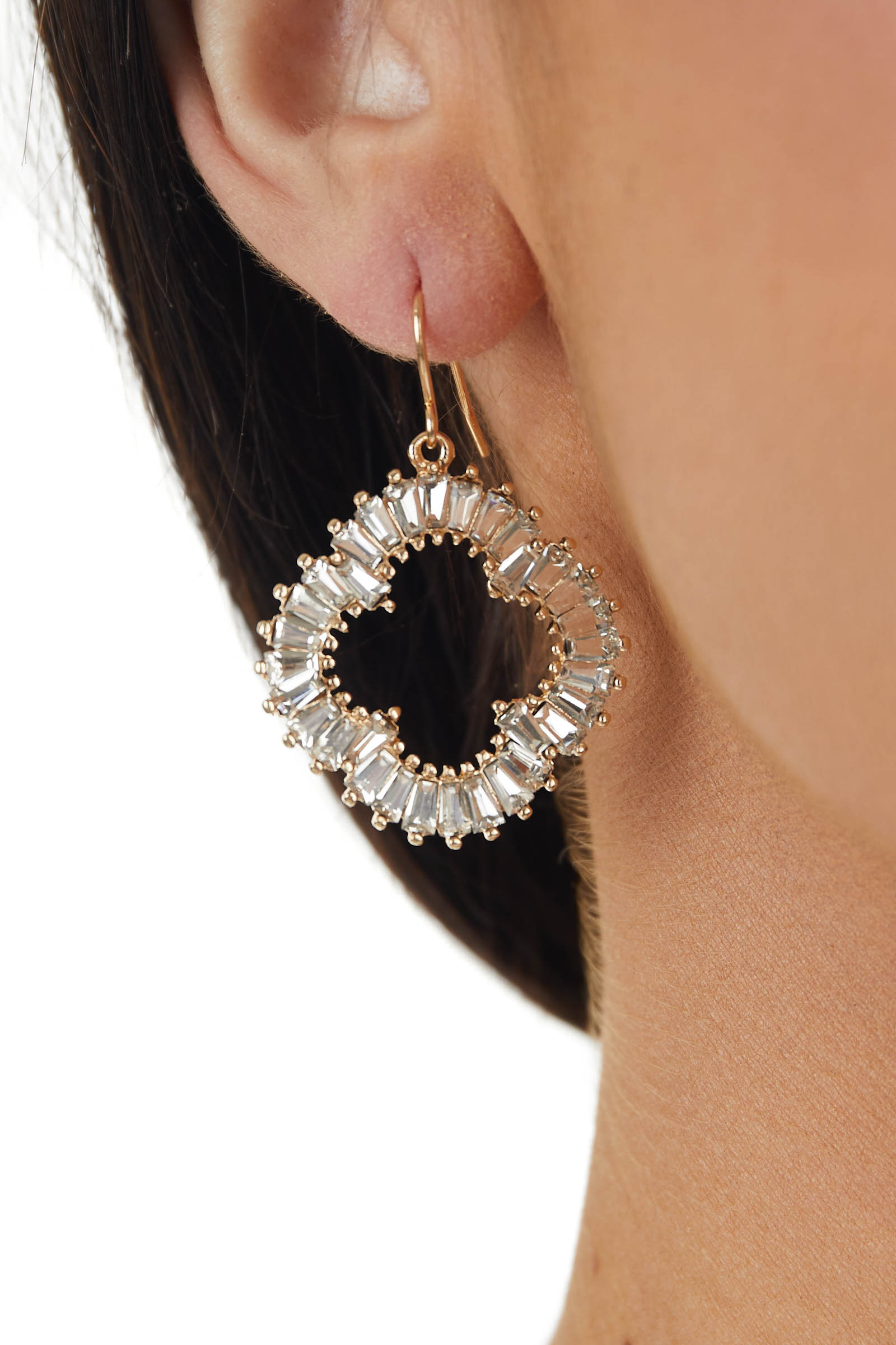 Gold and Silver Rhinestone Clover Shaped Dangle Earrings