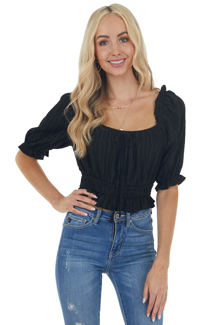 Black Textured Striped Woven Crop Top with Tie Detail