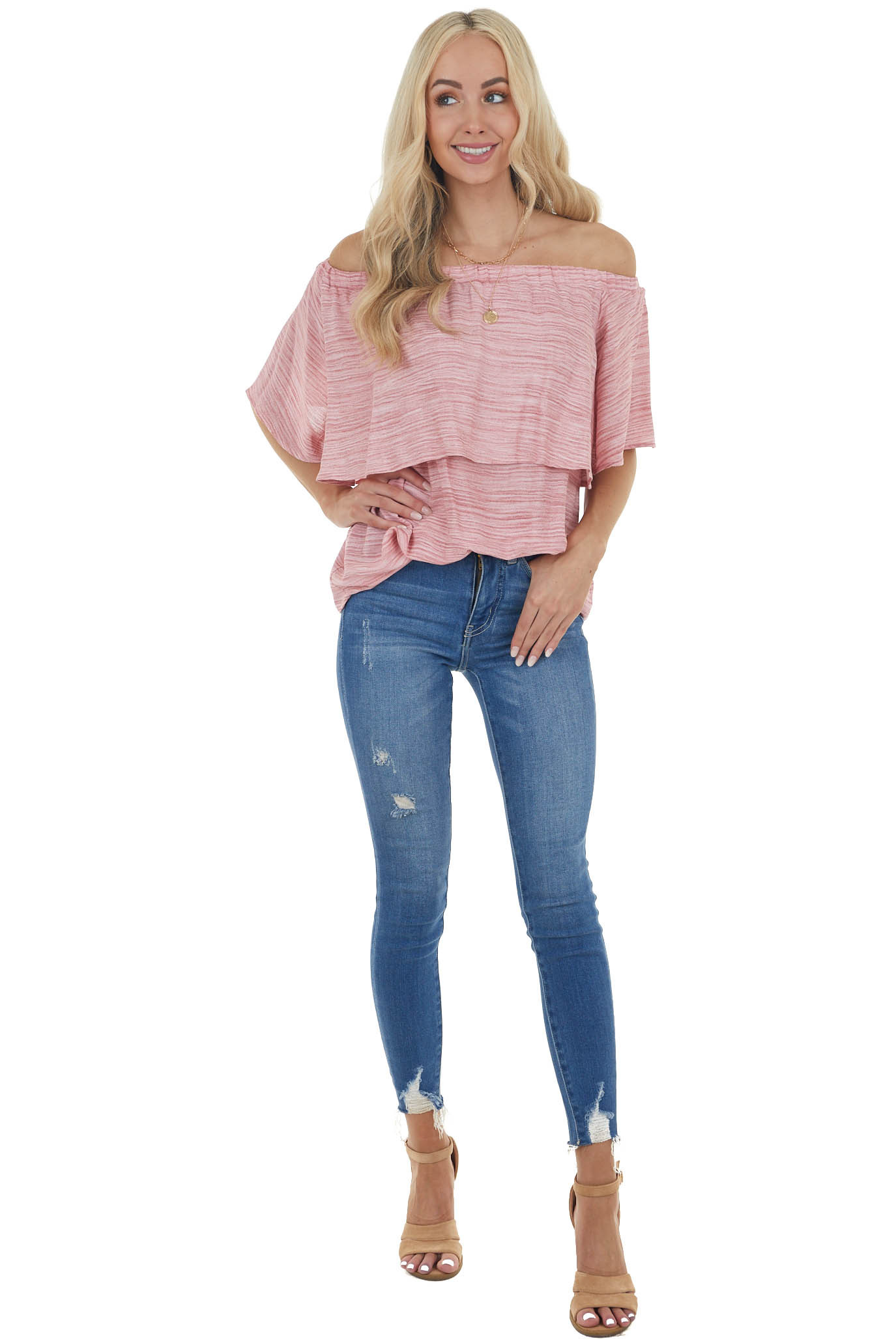 Carnation Pink Two Tone Off the Shoulder Woven Blouse