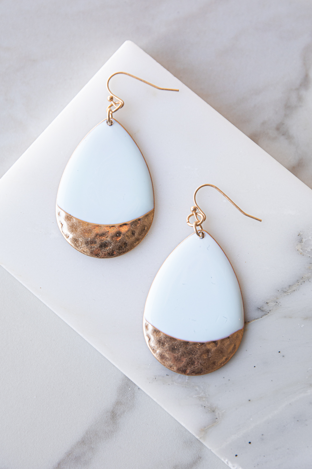 Mint and Gold Hammered Metal Teardrop Dangle Earrings