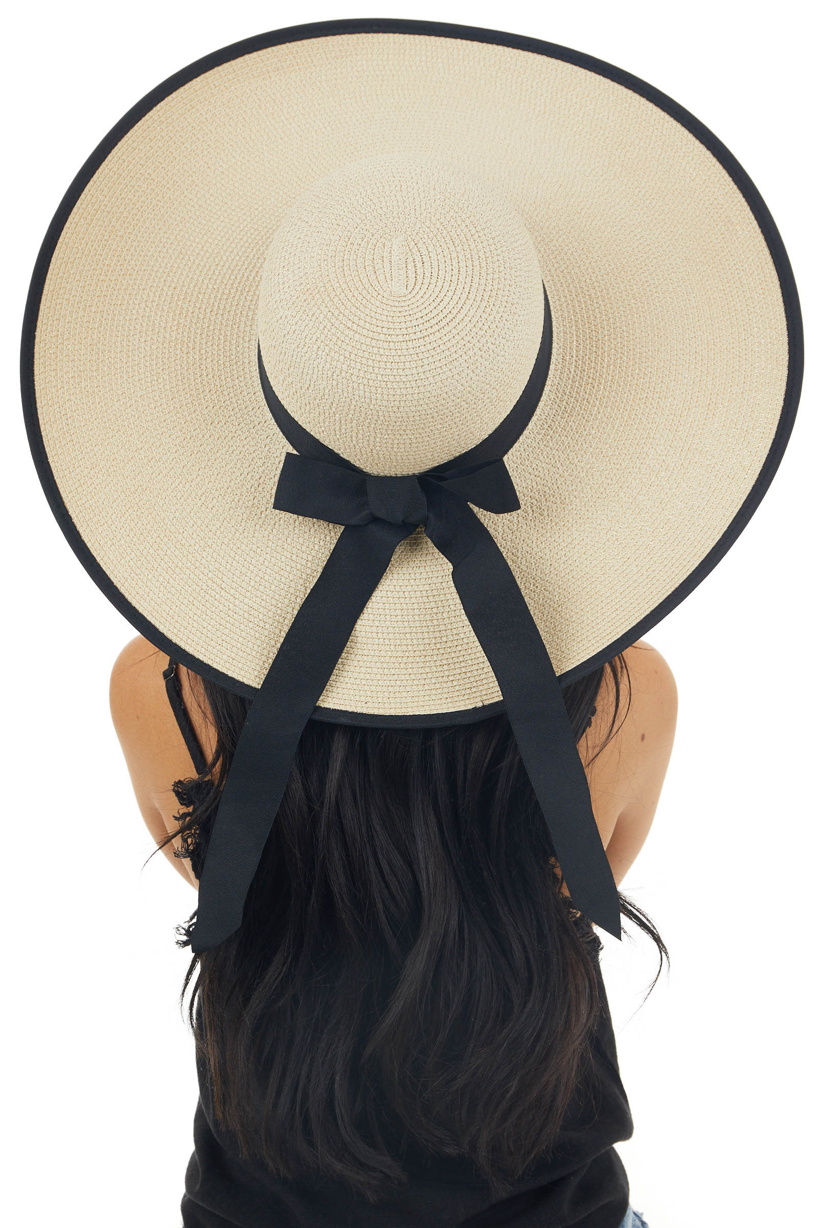 Beige and Black Straw Sun Hat with Ribbon Bow Detail