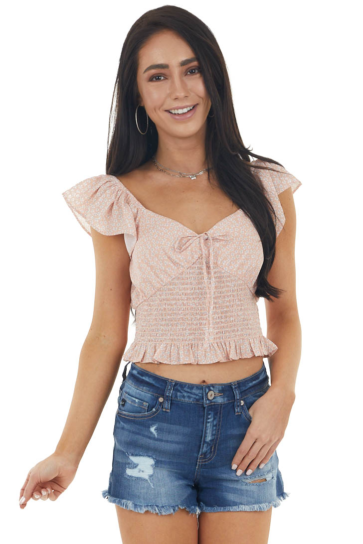 Peach Ditsy Floral Short Sleeve Crop Top with Smocked Detail