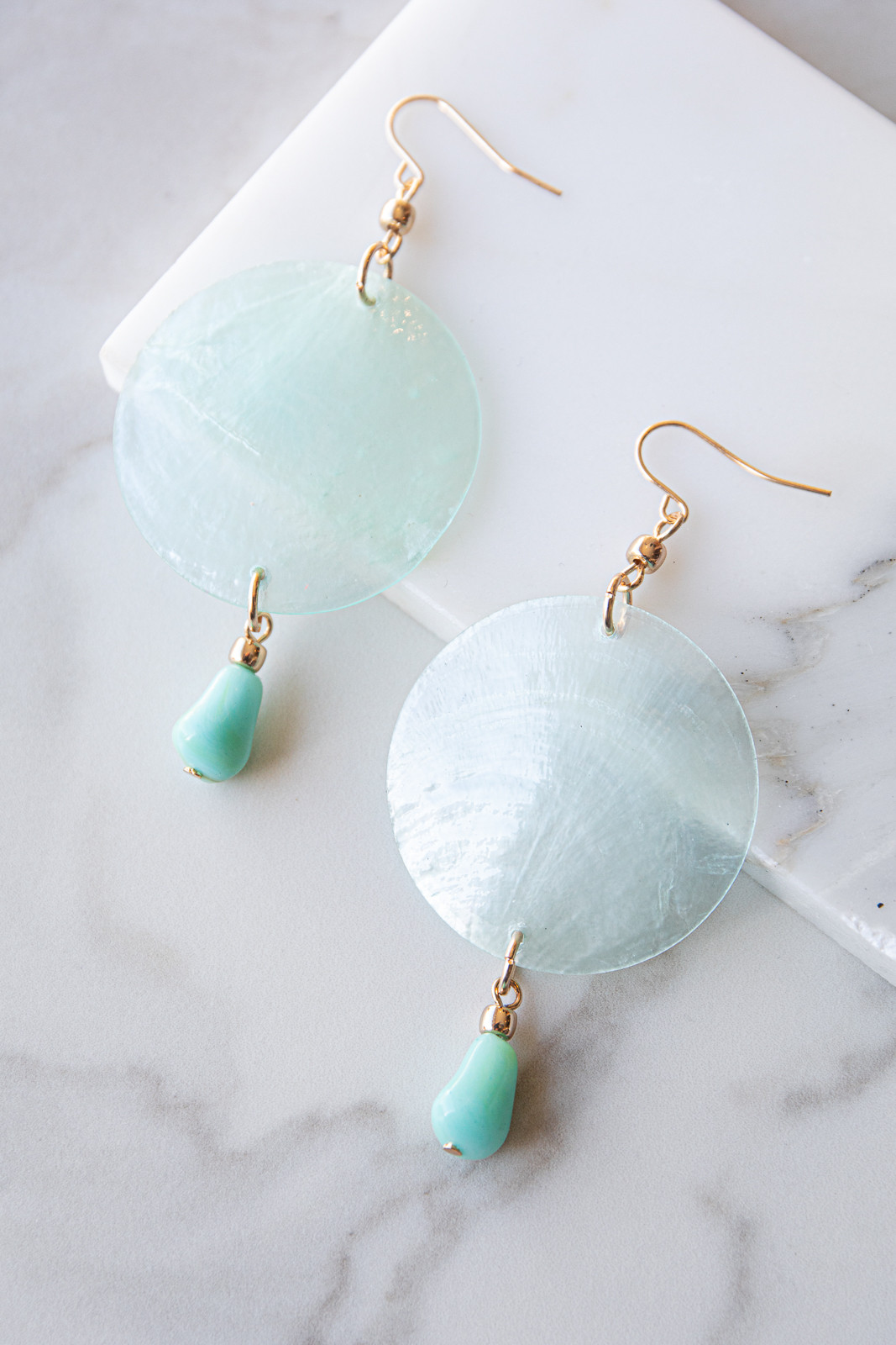Turquoise Shell Circle Dangle Earrings with Pebble Detail
