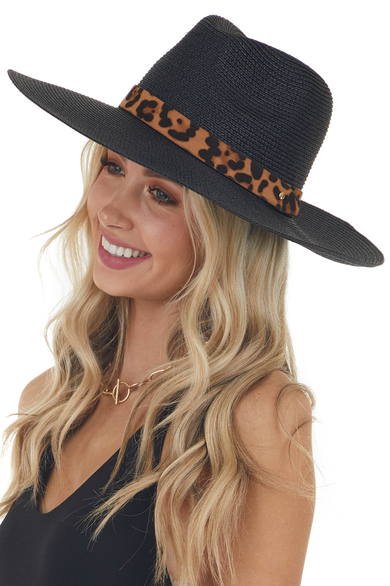 Black Straw Sun Hat with Leopard Print Buckle Detail