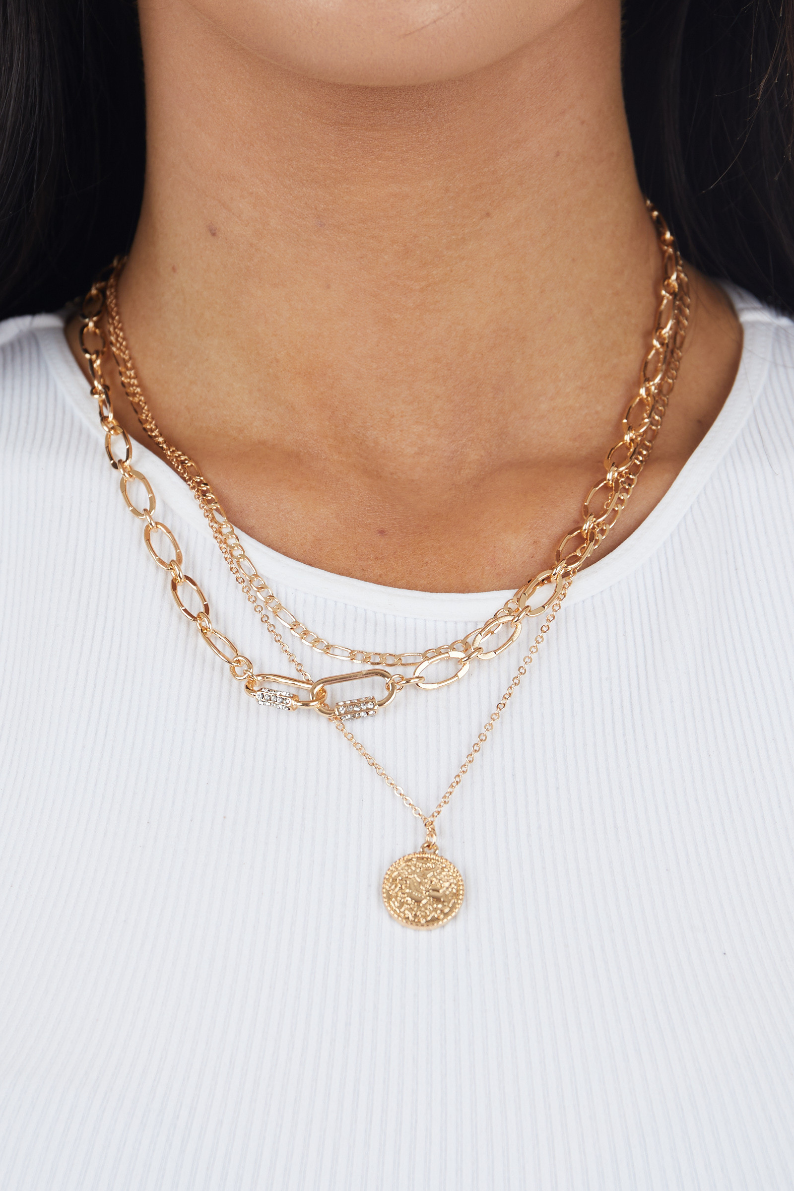 Gold Triple Chain Necklace with Coin Charm and Rhinestones