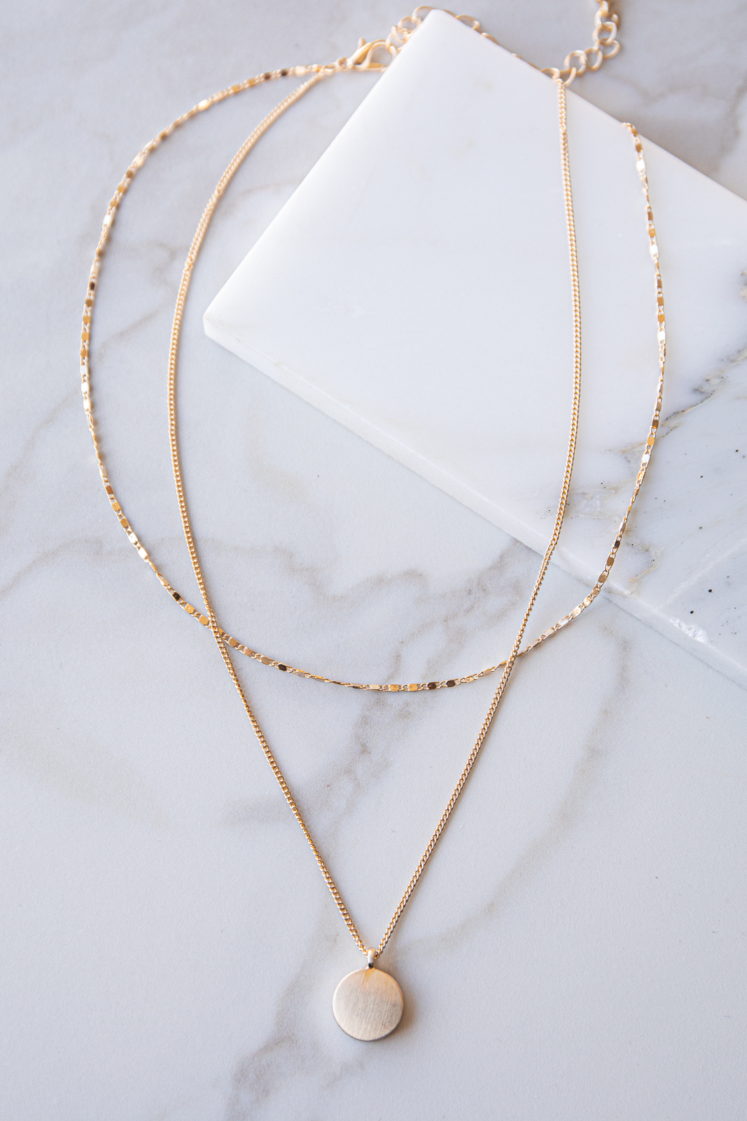 Gold Layered Dainty Chain with Brushed Metal Circle Pendant