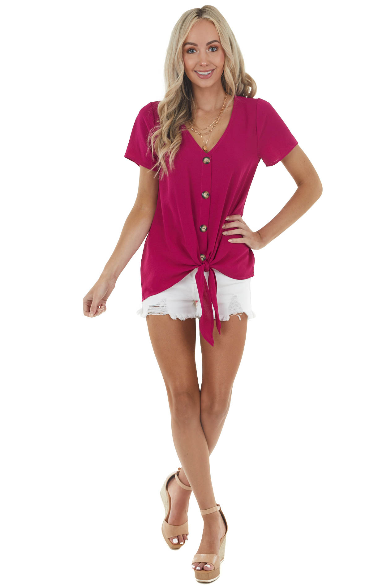Fuchsia Short Sleeve Button Up Top with Front Tie Detail