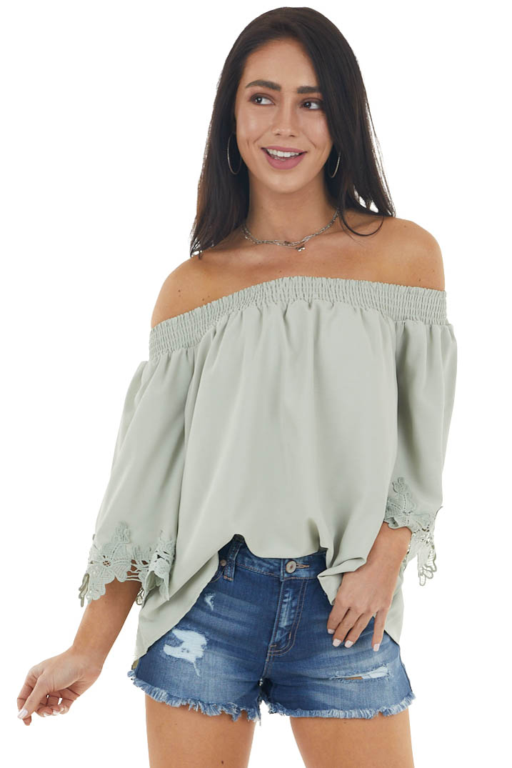 Dusty Green Off the Shoulder Blouse with Lace Details