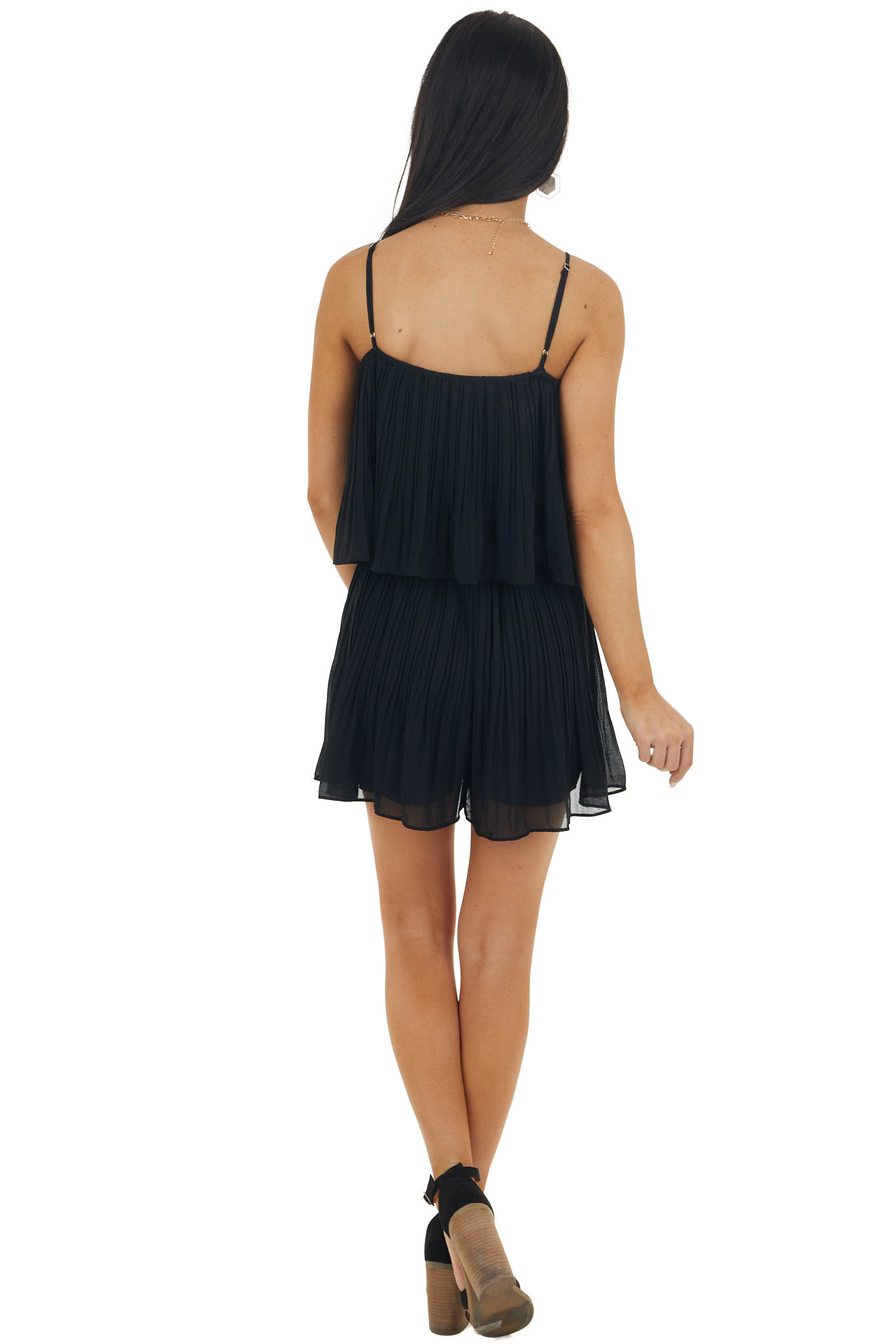 Black Sleeveless Pleated Overlaying Flowy Fitted Romper