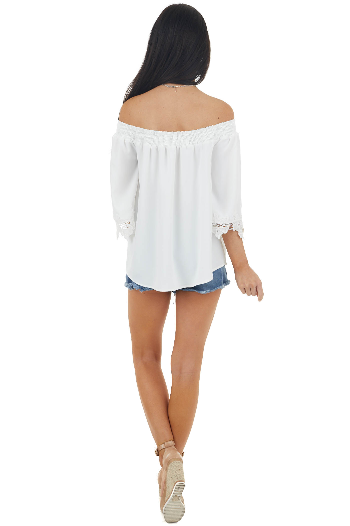 Pearl White Off the Shoulder Blouse with Lace Details