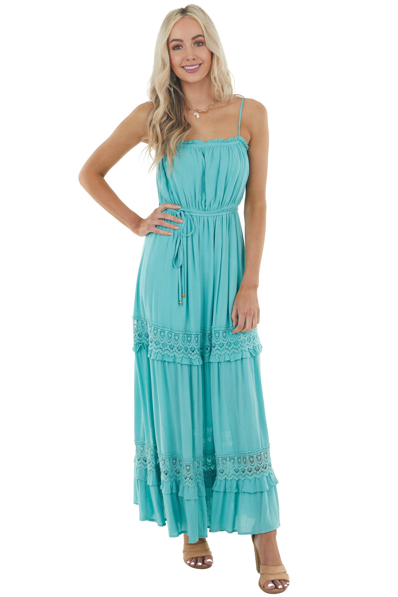 Dusty Teal Sleeveless Maxi Dress with Crochet Lace Detail