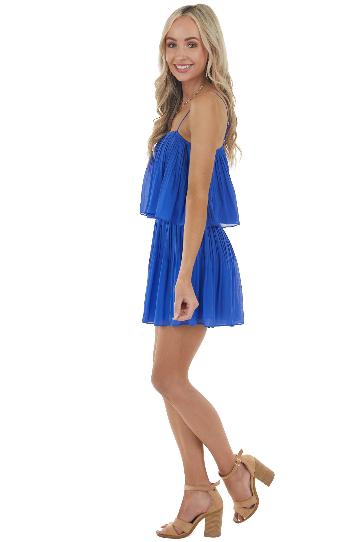 Royal Blue Sleeveless Pleated Overlaying Flowy Fitted Romper