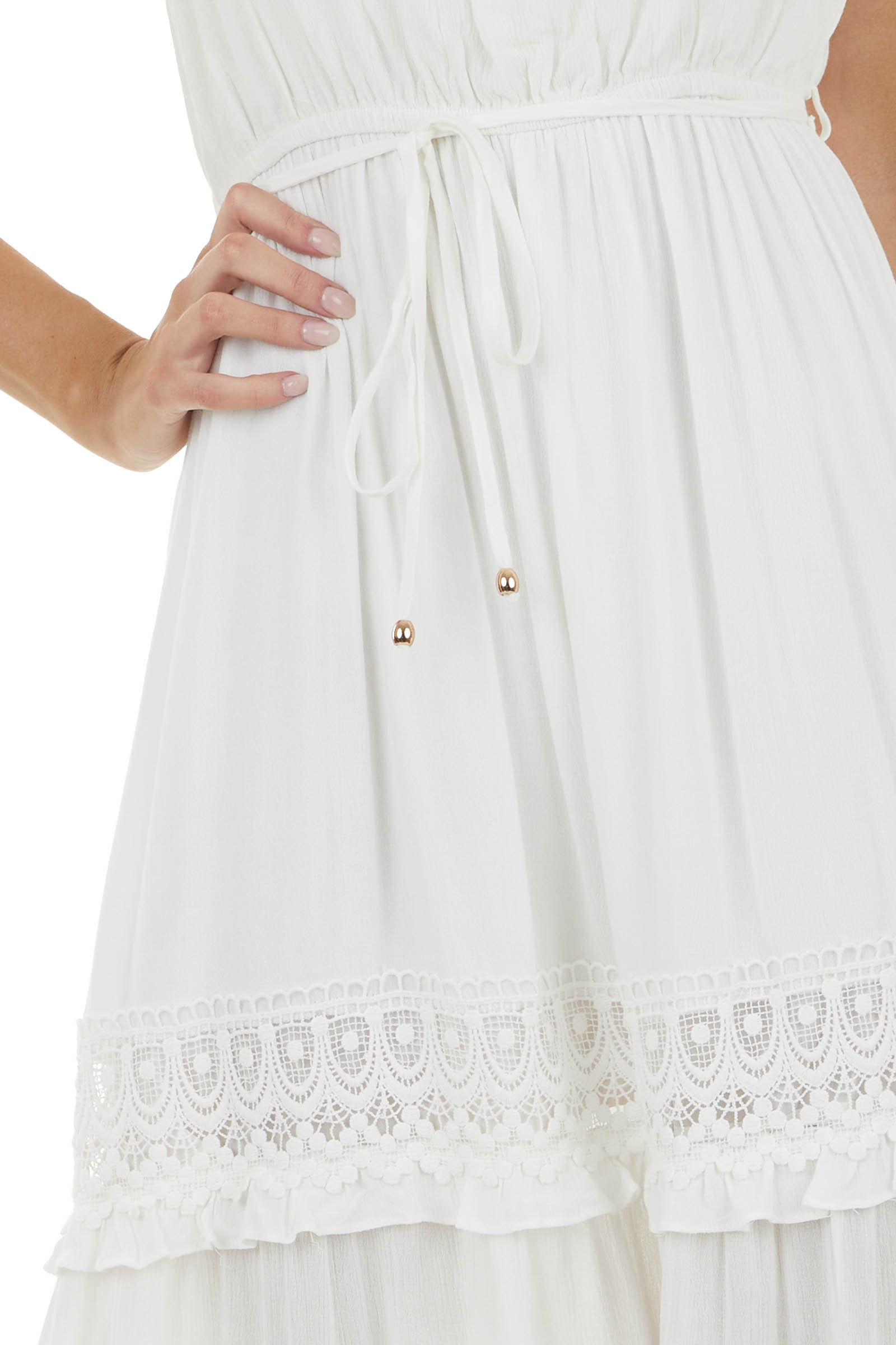 Ivory Sleeveless Maxi Dress with Crochet Lace Detail