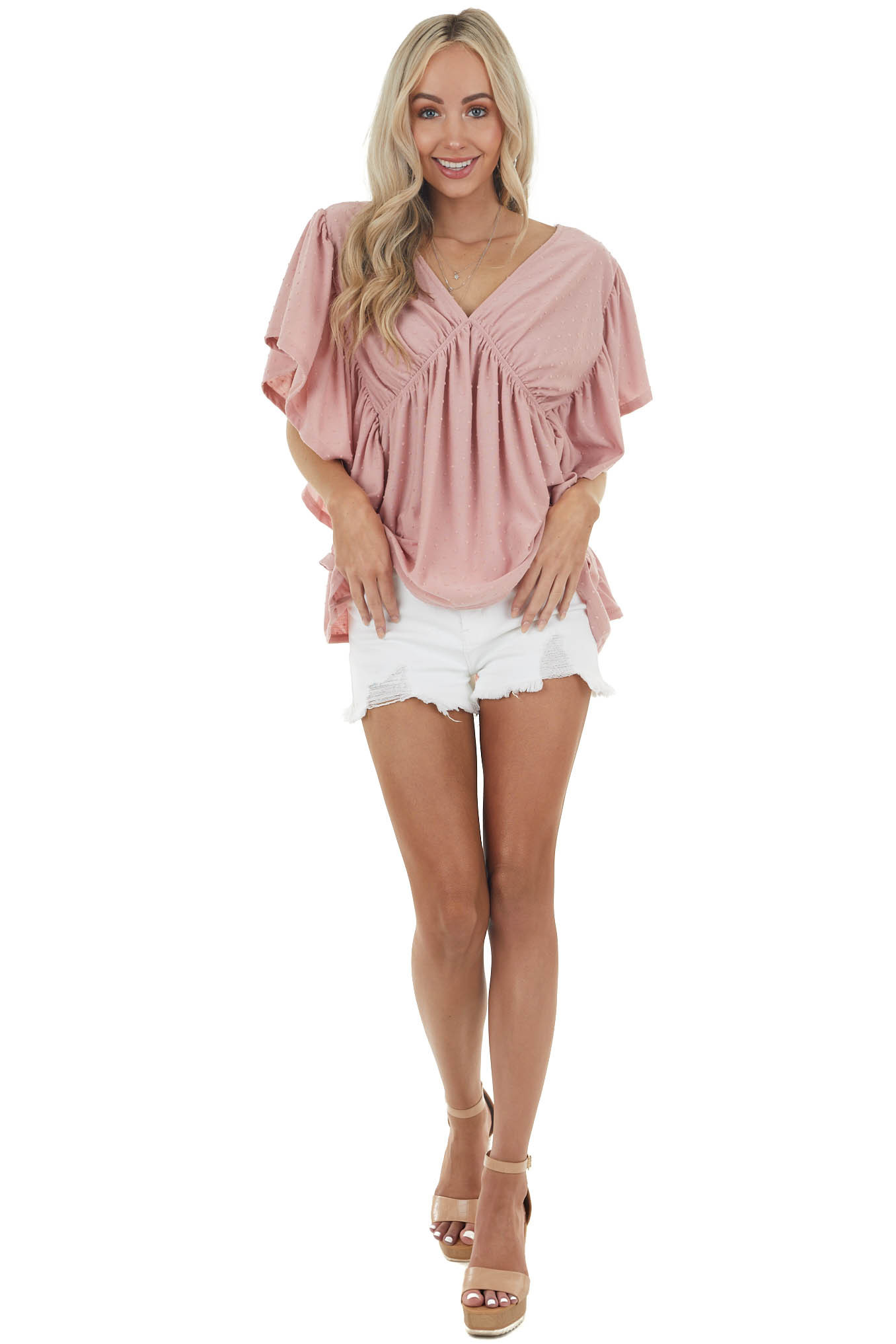 Dusty Blush V Neck Swiss Dot Knit Top with Ruffle Details