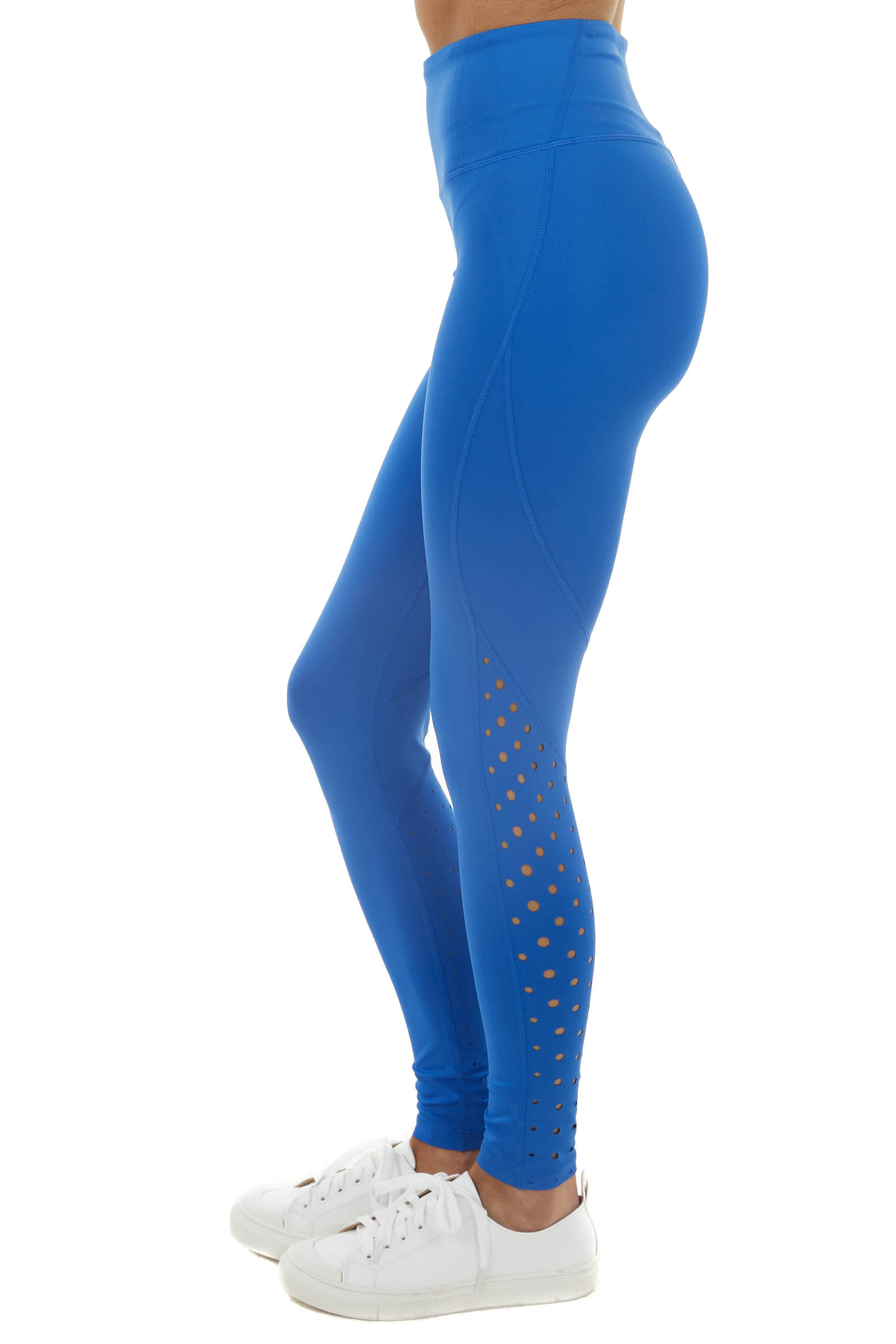 Royal Blue High Waist Leggings with Spotted Cut Out Details