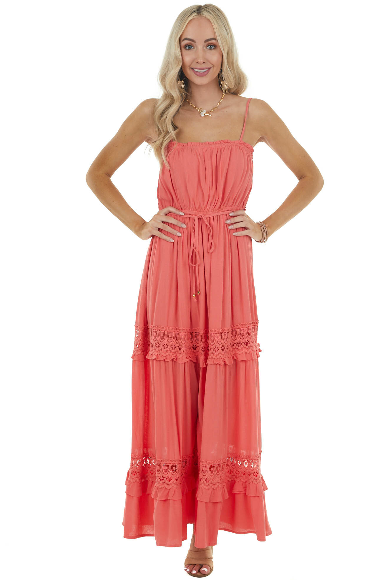 Bright Coral Sleeveless Maxi Dress with Crochet Lace Detail