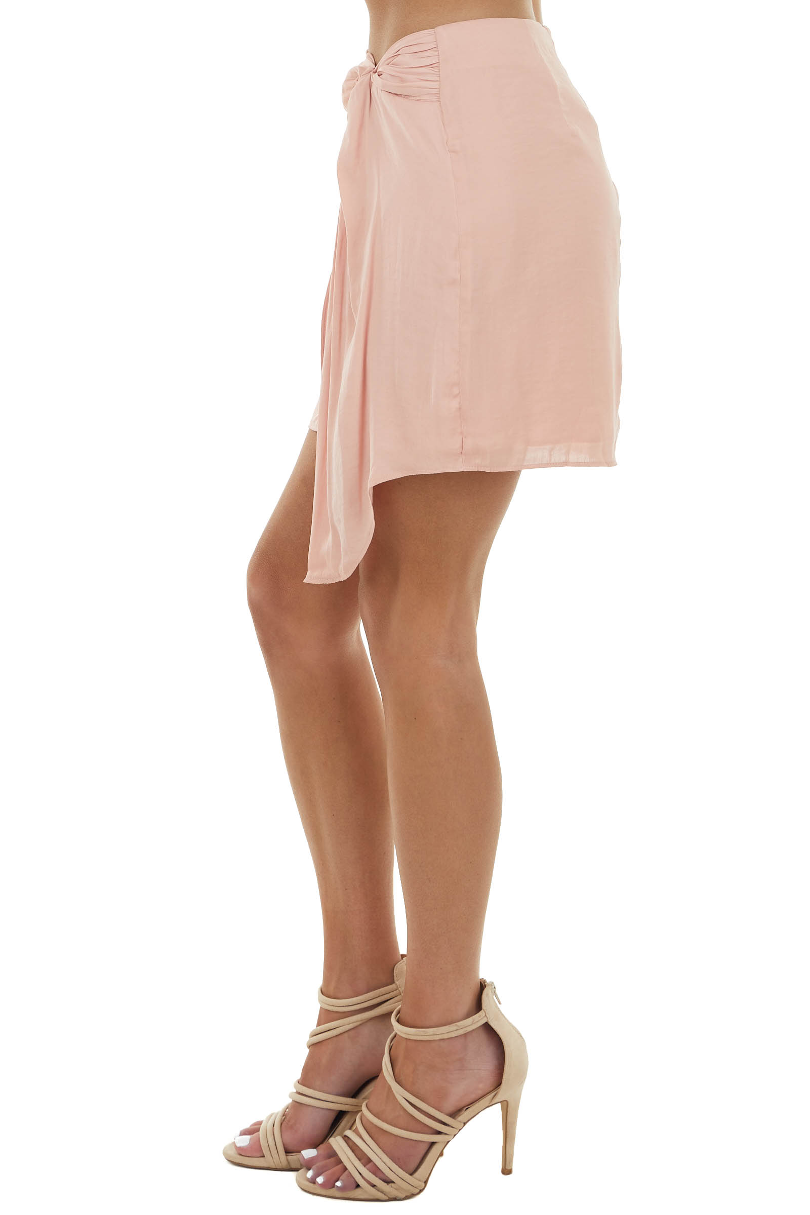 Dusty Blush Mini Skirt with Twist Tie Overlapping Detail