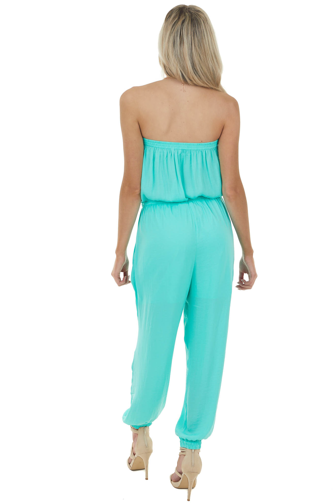 Aqua Silky Strapless Jumpsuit with Elastic Waist and Tie