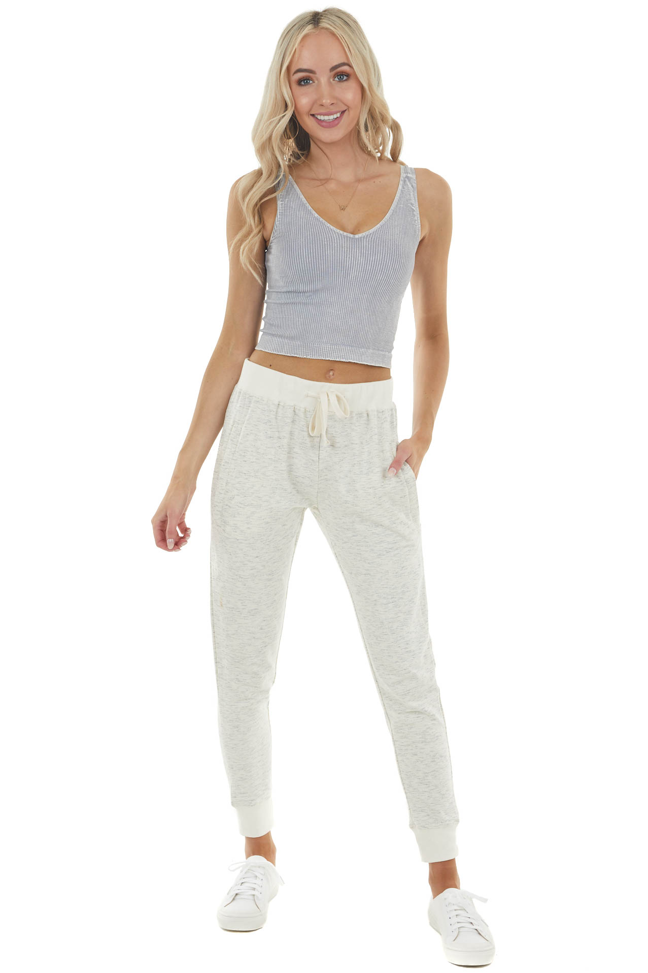 Melange Cream Soft Knit Joggers with Zippered Pockets