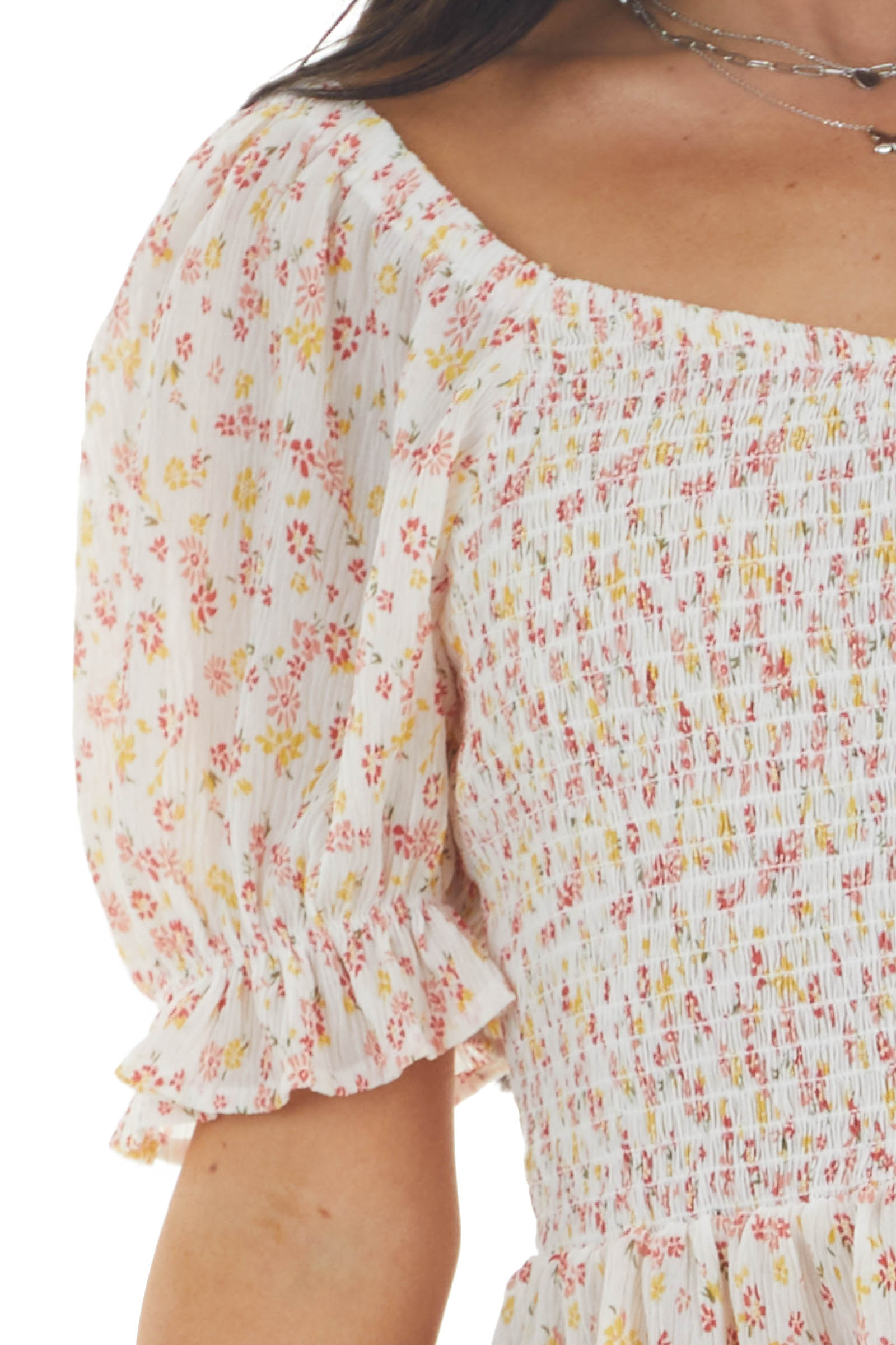 Ivory Ditsy Floral Print Smocked Textured Woven Blouse