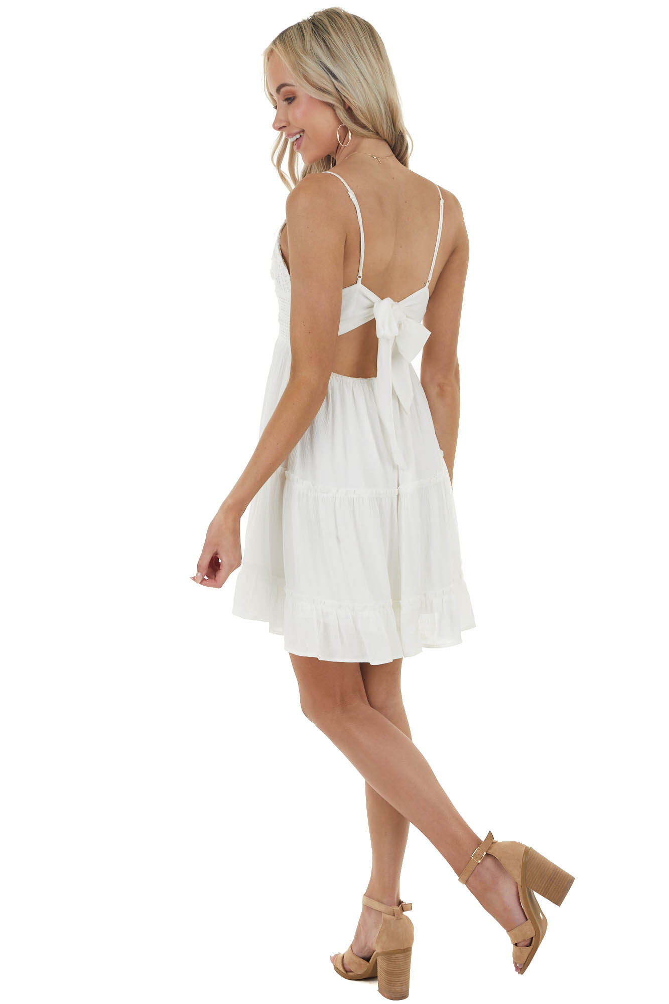 Pearl White Sleeveless Short Dress with Crochet Lace Detail