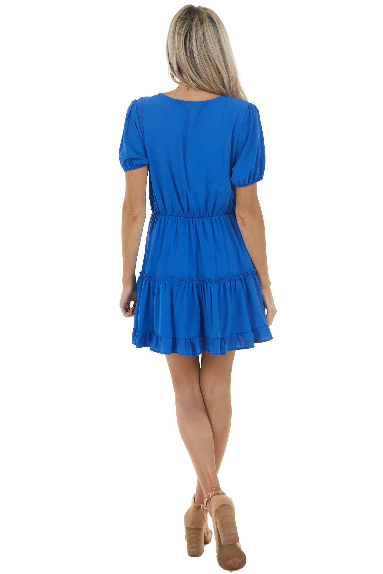 Royal Blue Surplice Short Sleeve Mini Dress with Ruffles