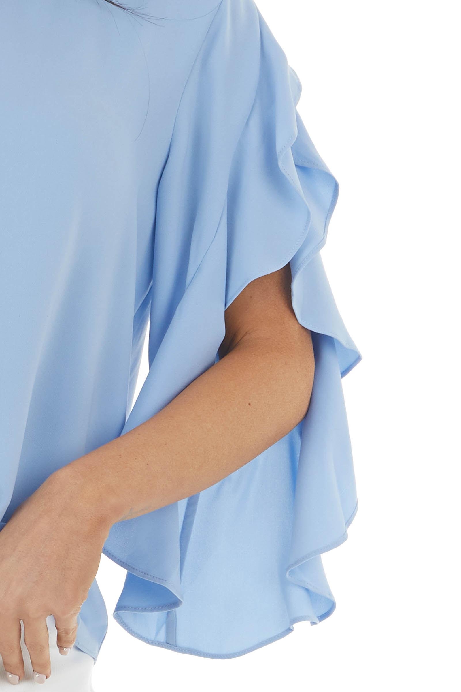 Baby Blue Open Sleeve Blouse with Ruffle Detail