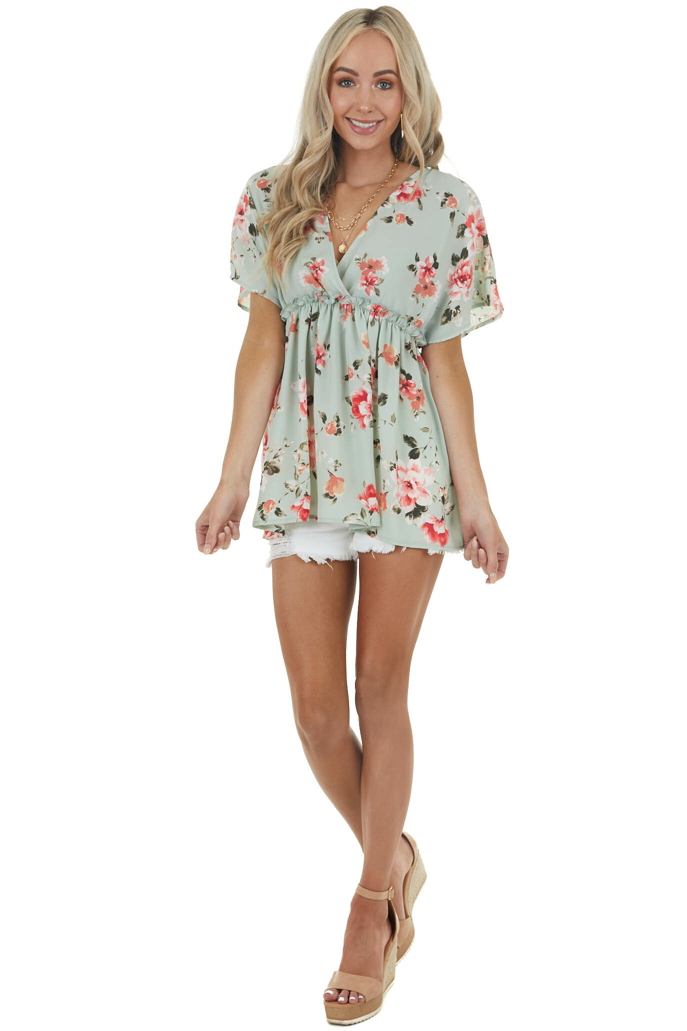 Seafoam Floral Print Surplice Baby Doll Top with Frill