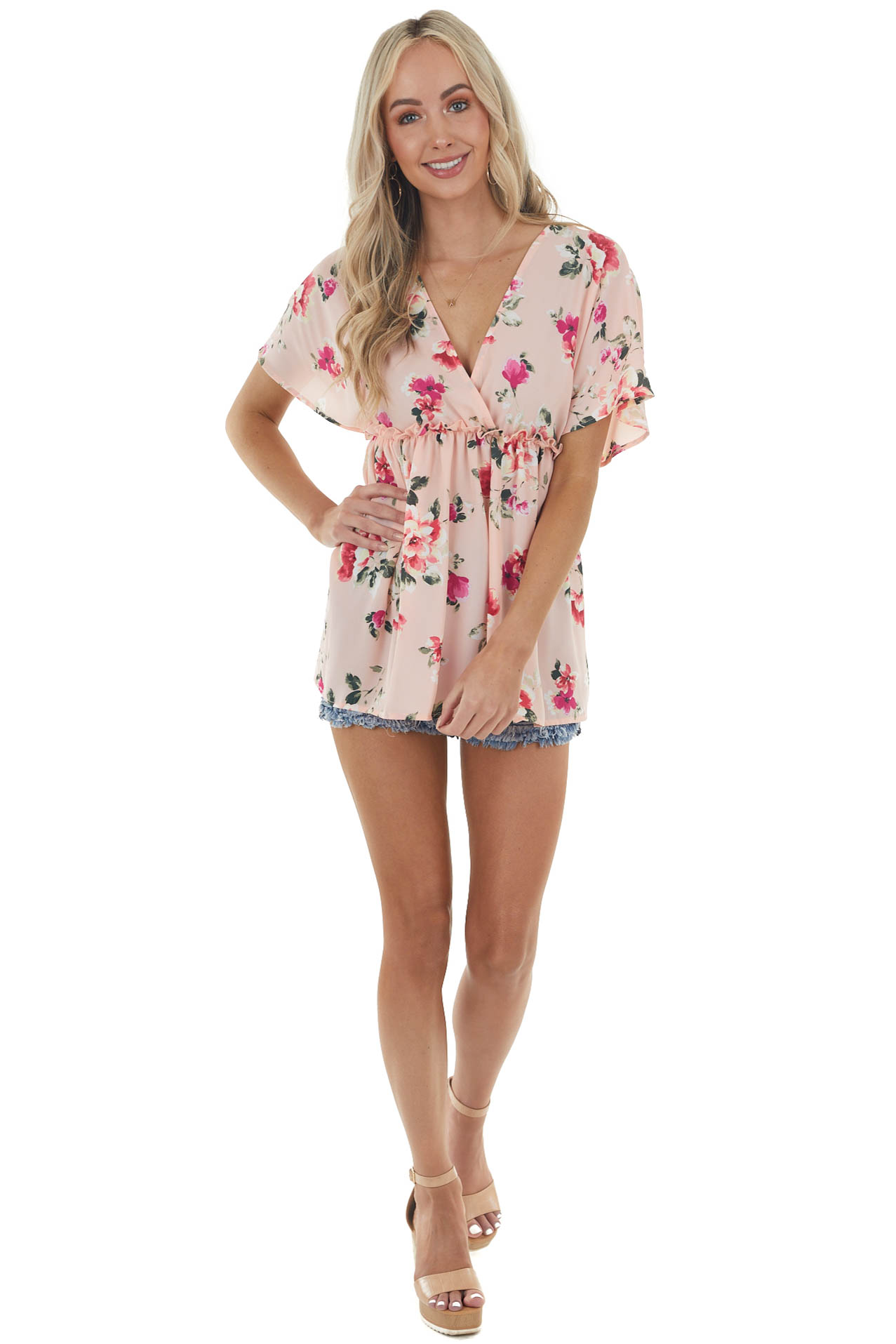 Baby Pink Floral Print Surplice Baby Doll Top with Frill