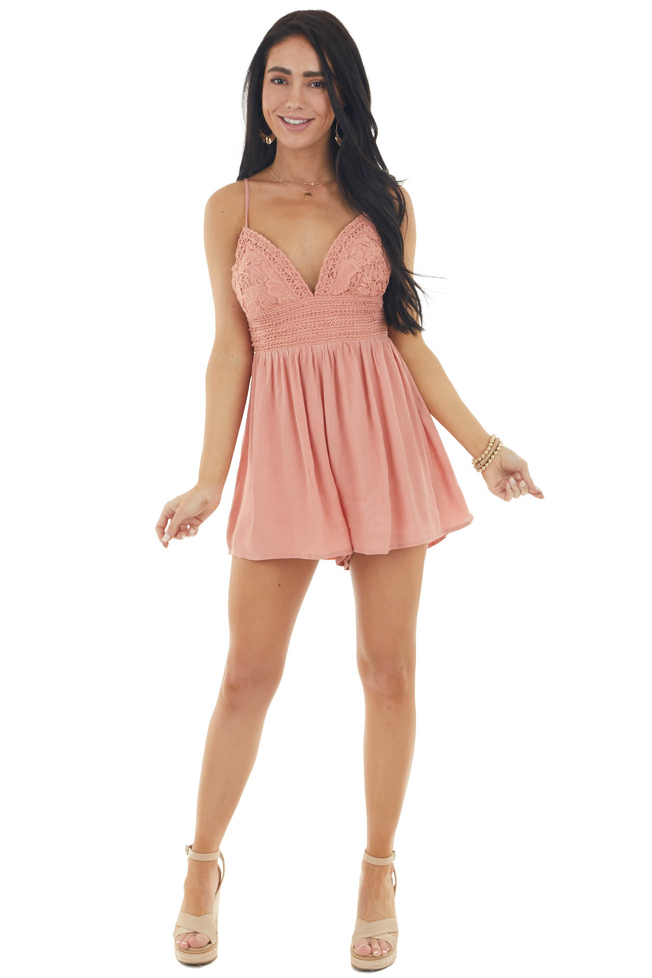 Salmon Sleeveless Romper with Crochet Lace Details