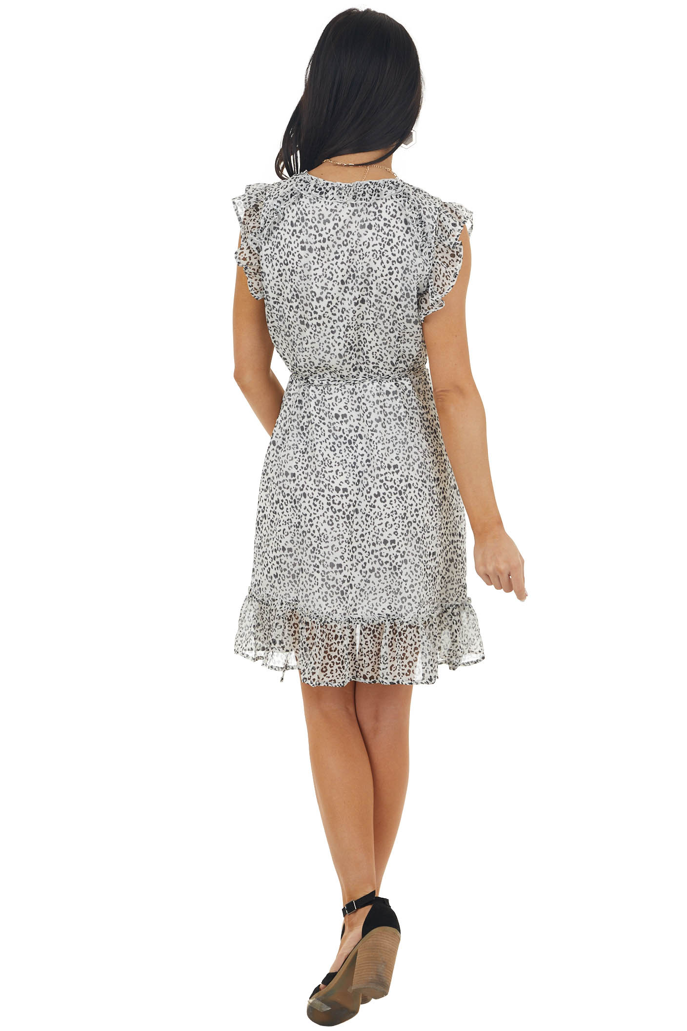 Ivory Leopard Print Textured Woven Wrap Dress with Ruffles