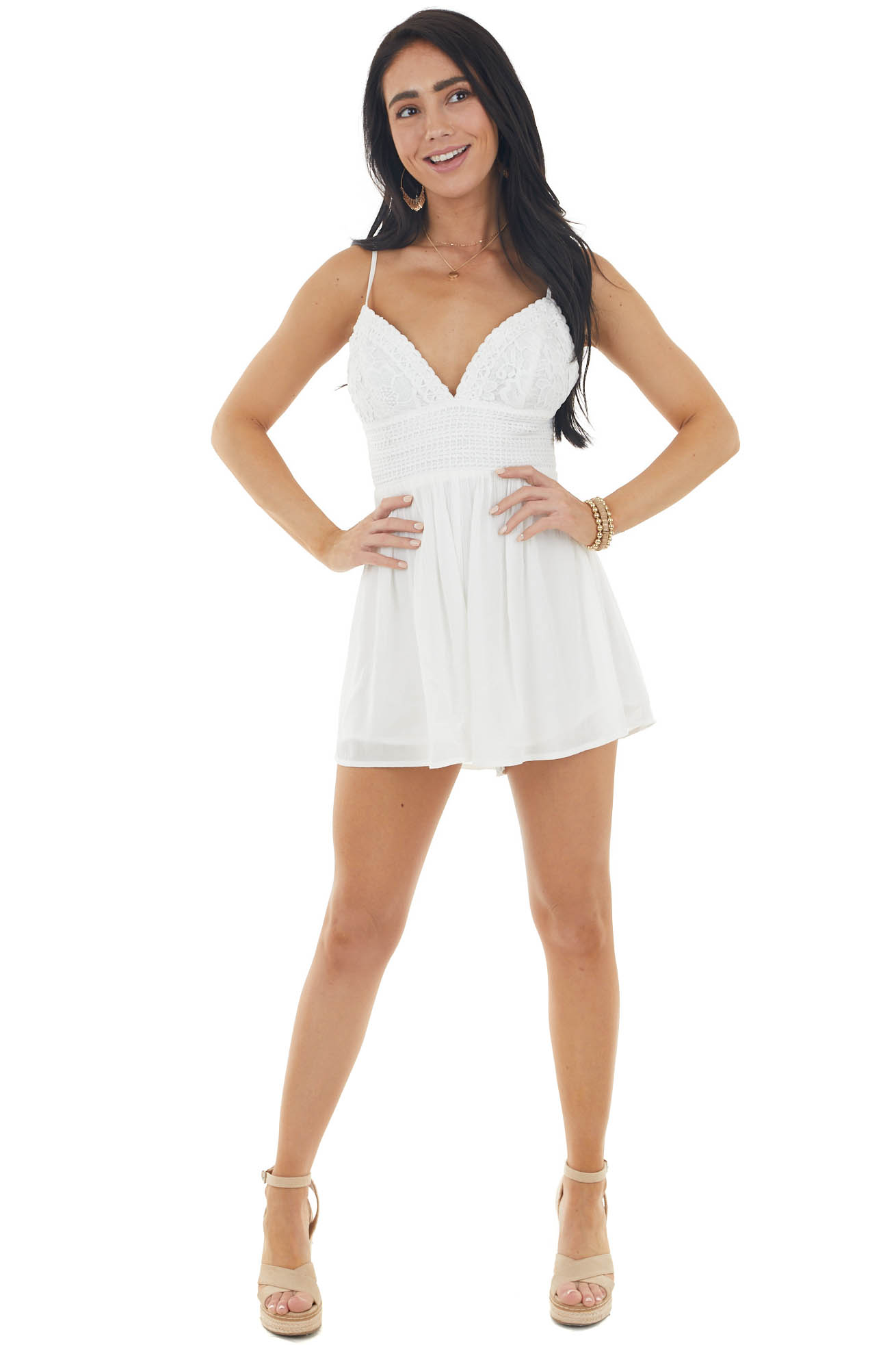 Pearl White Sleeveless Romper with Crochet Lace Details