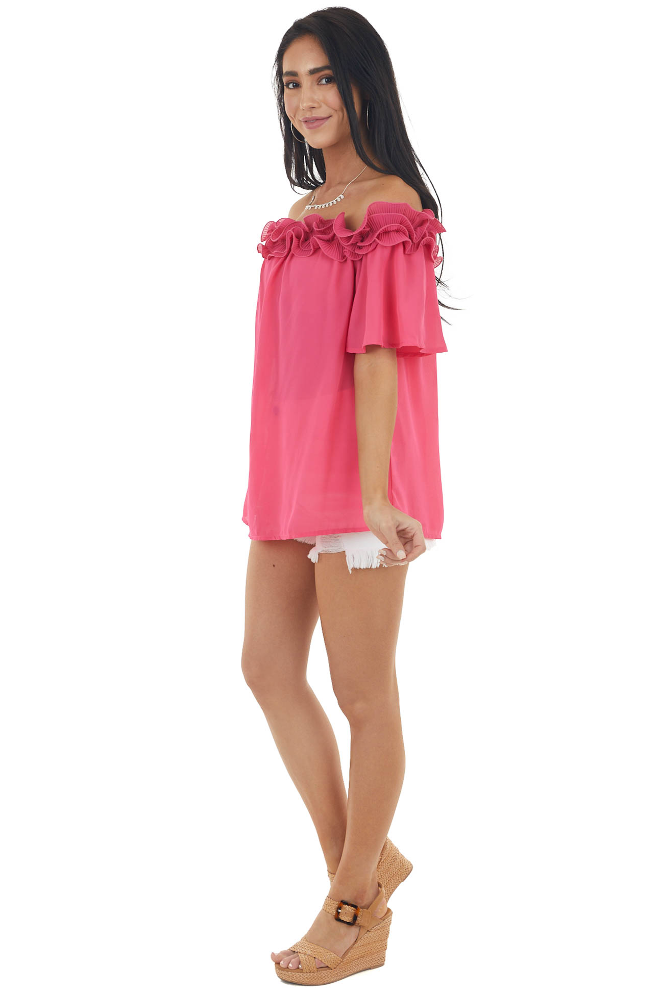 Fuchsia Off the Shoulder Short Sleeve Top with Ruffle Detail