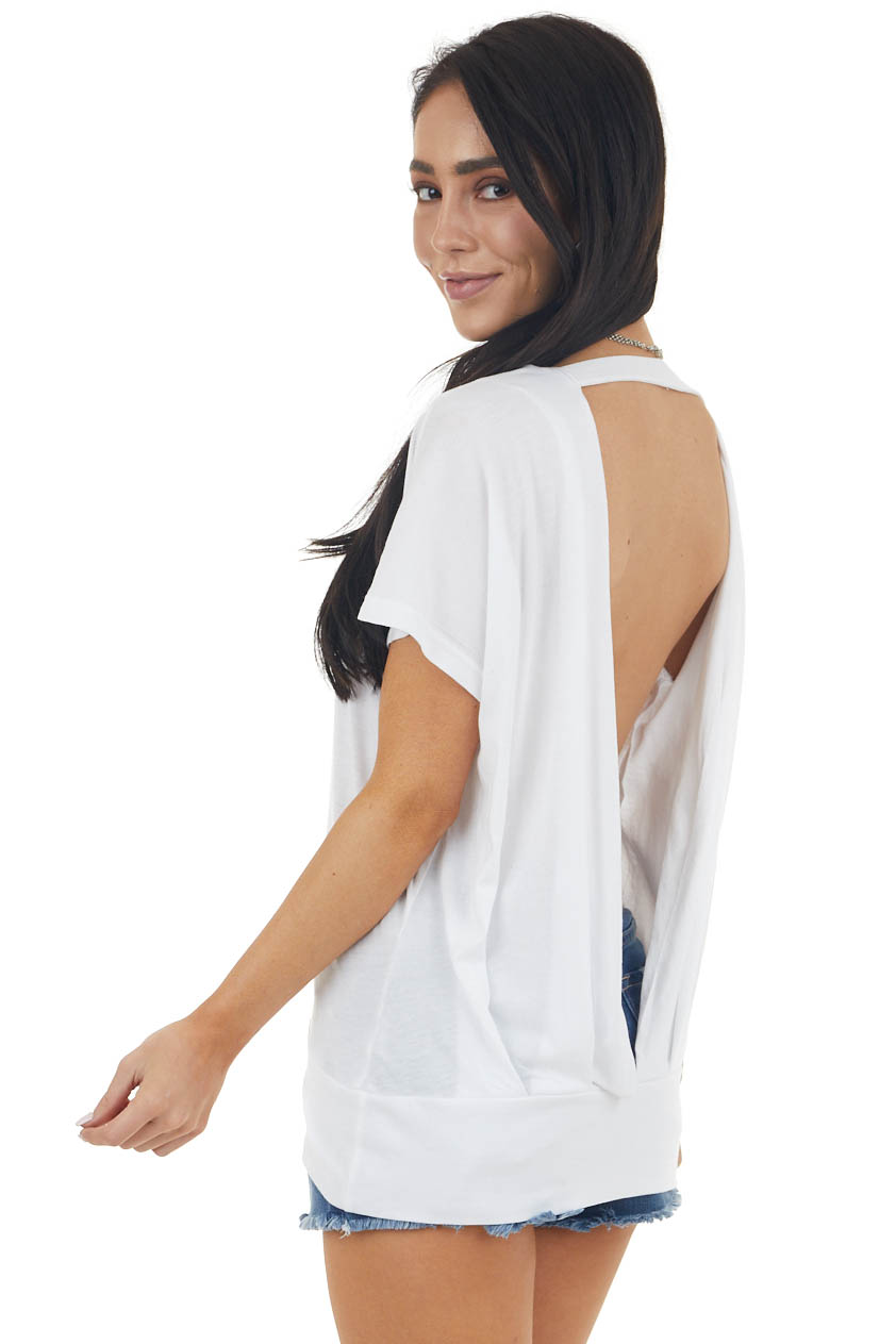 Off White Short Sleeve Backless Knit Top with Banded Hem