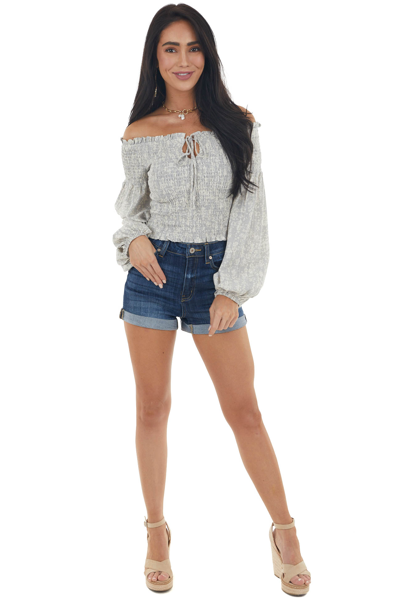 Steel Grey and Ivory Printed Smocked Off the Shoulder Blouse