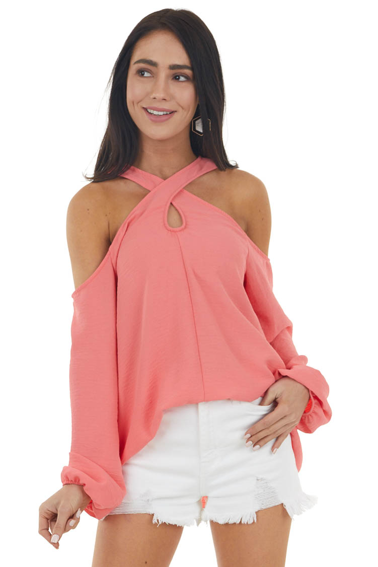 Deep Coral Cold Shoulder Long Sleeve Top with Crossed Neck