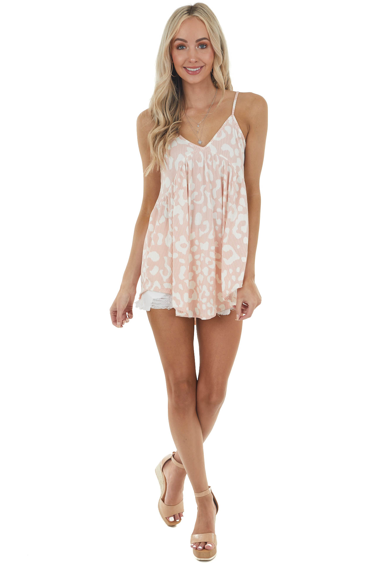 Carnation Leopard Print Baby Doll Ribbed Knit Tank Top