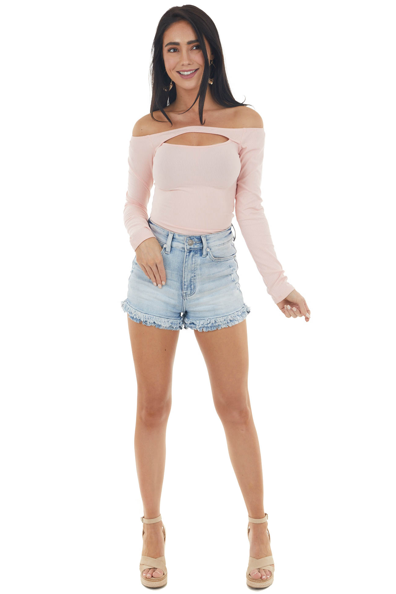 Peach Off the Shoulder Ribbed Knit Top with Cut Out Detail