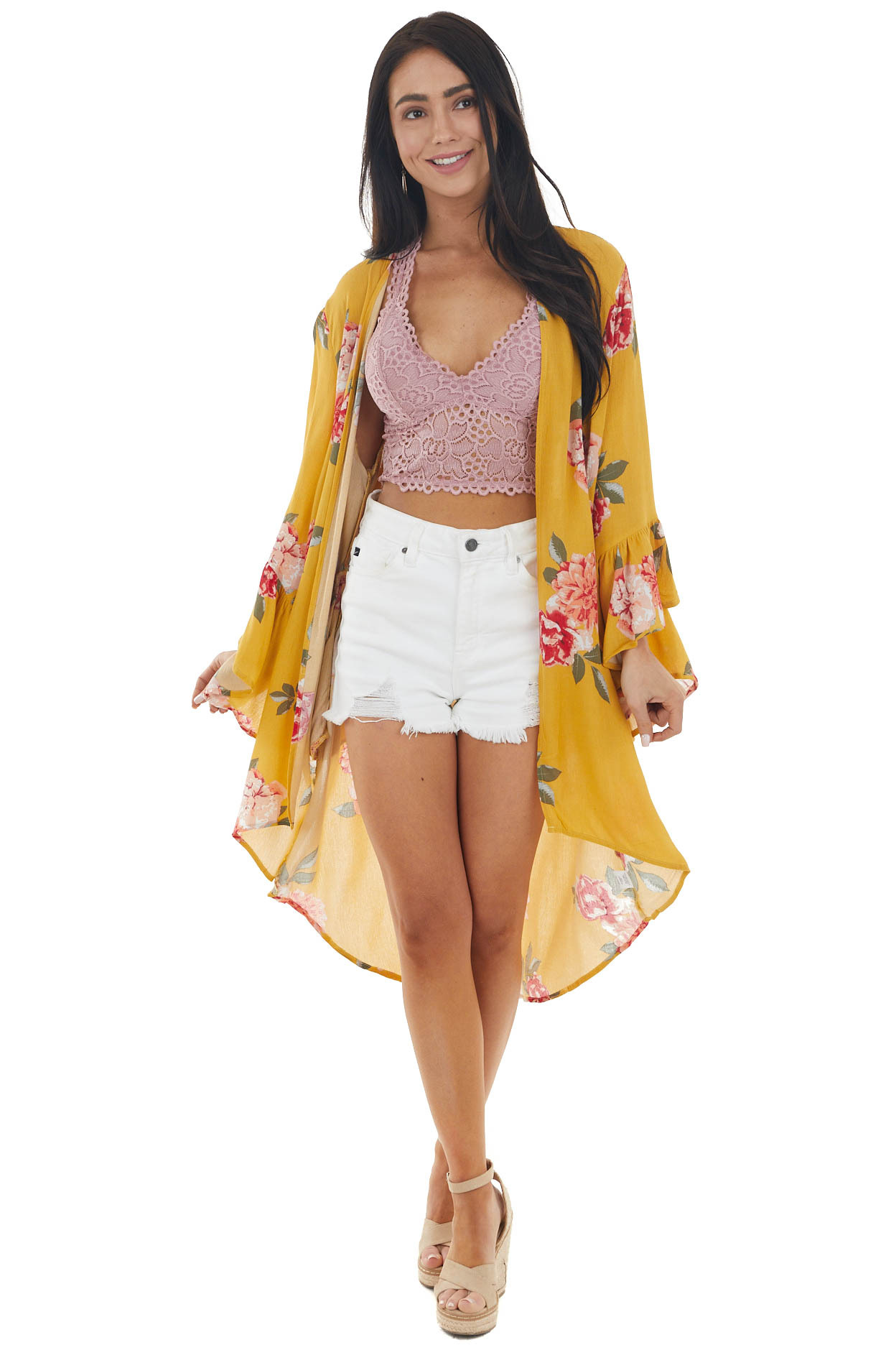 Mustard Yellow Floral Print Kimono with Flare Sleeves